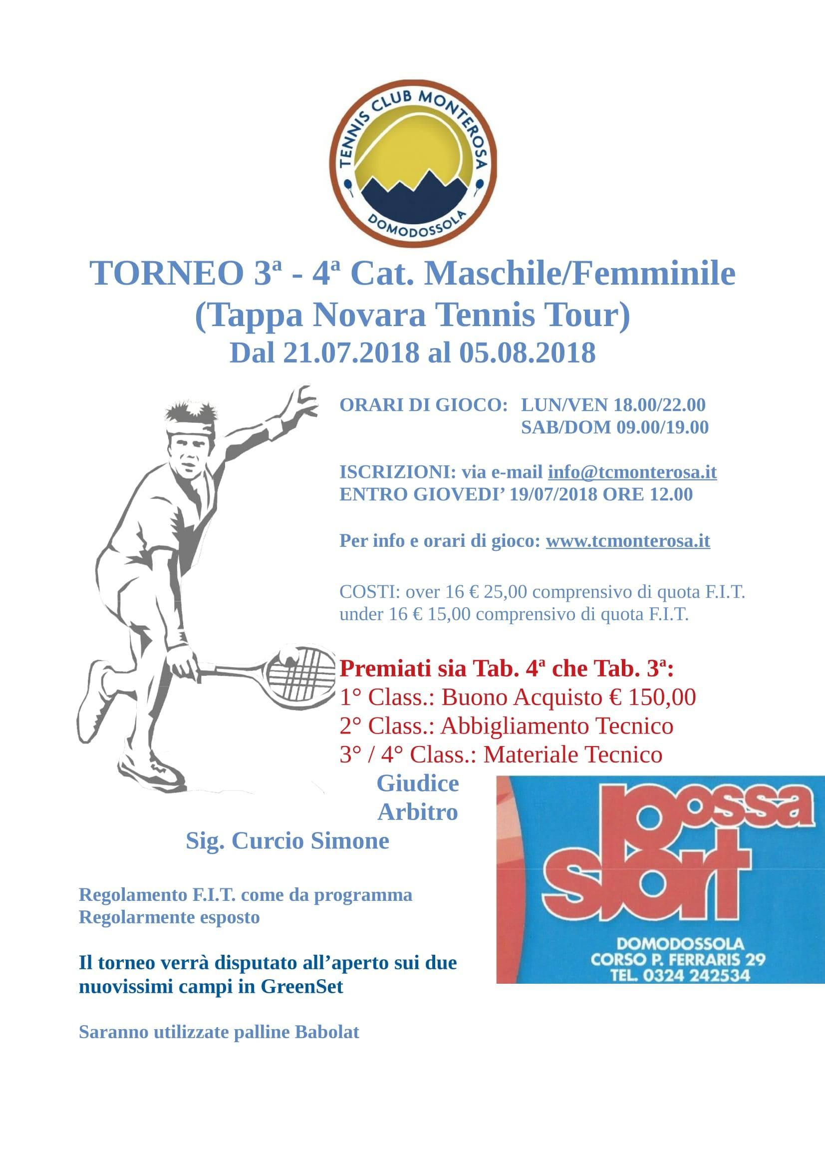 ll torneo FIT dal 21 07 2018 al 05 08 2018 ¨ inserito nel Circuito FIT Sportway Head non Novara Tennis Tour