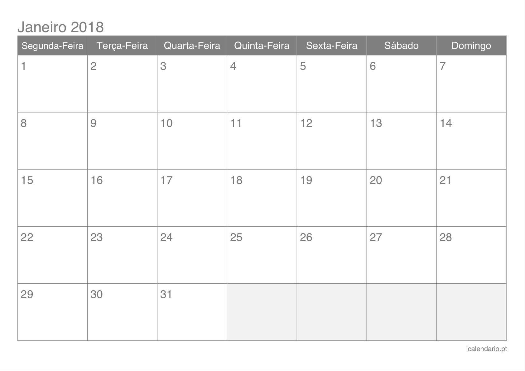 calendário janeiro 2018 para imprimir icalendário pt