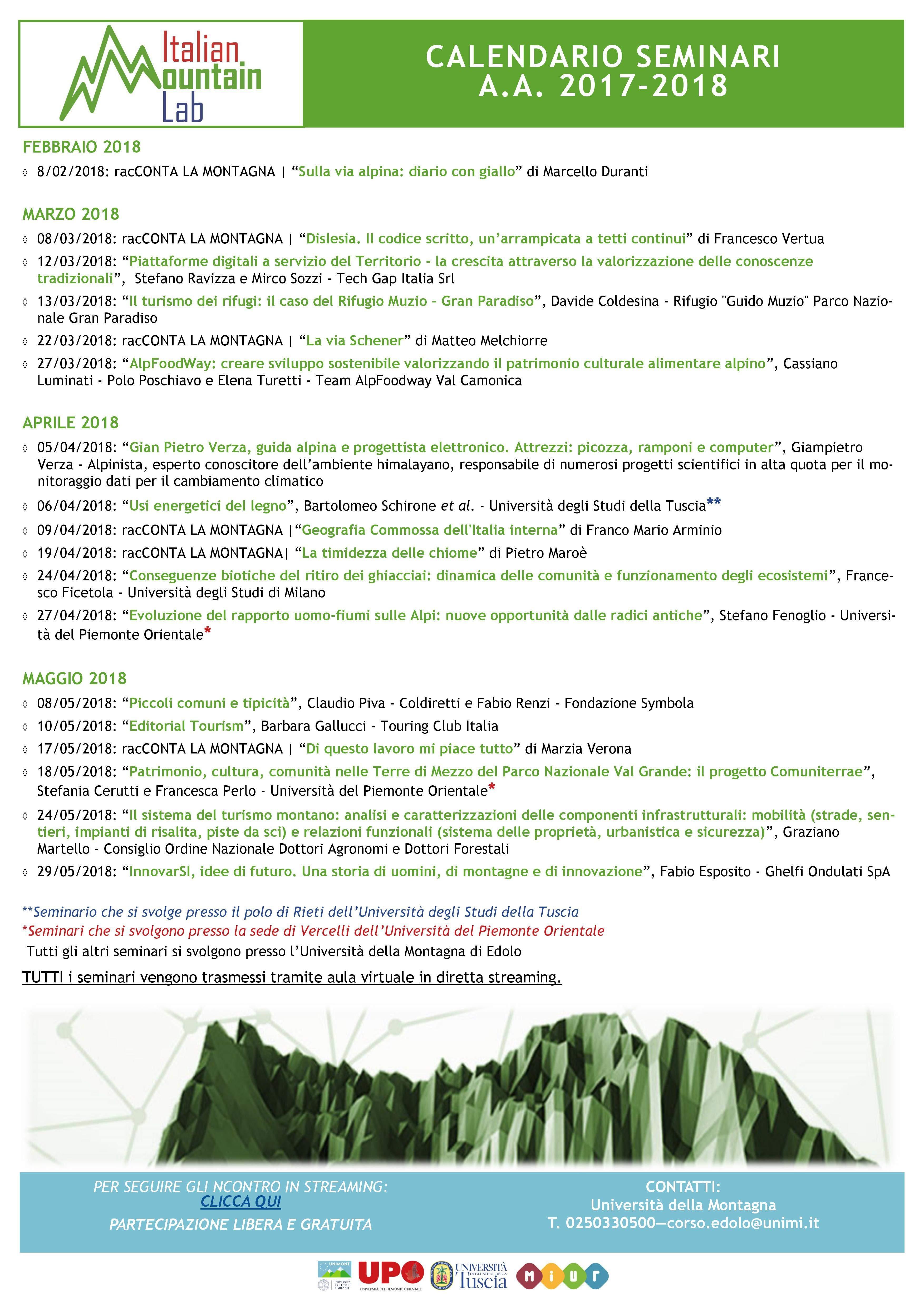 Di seguito il calendario del primo ciclo seminariale
