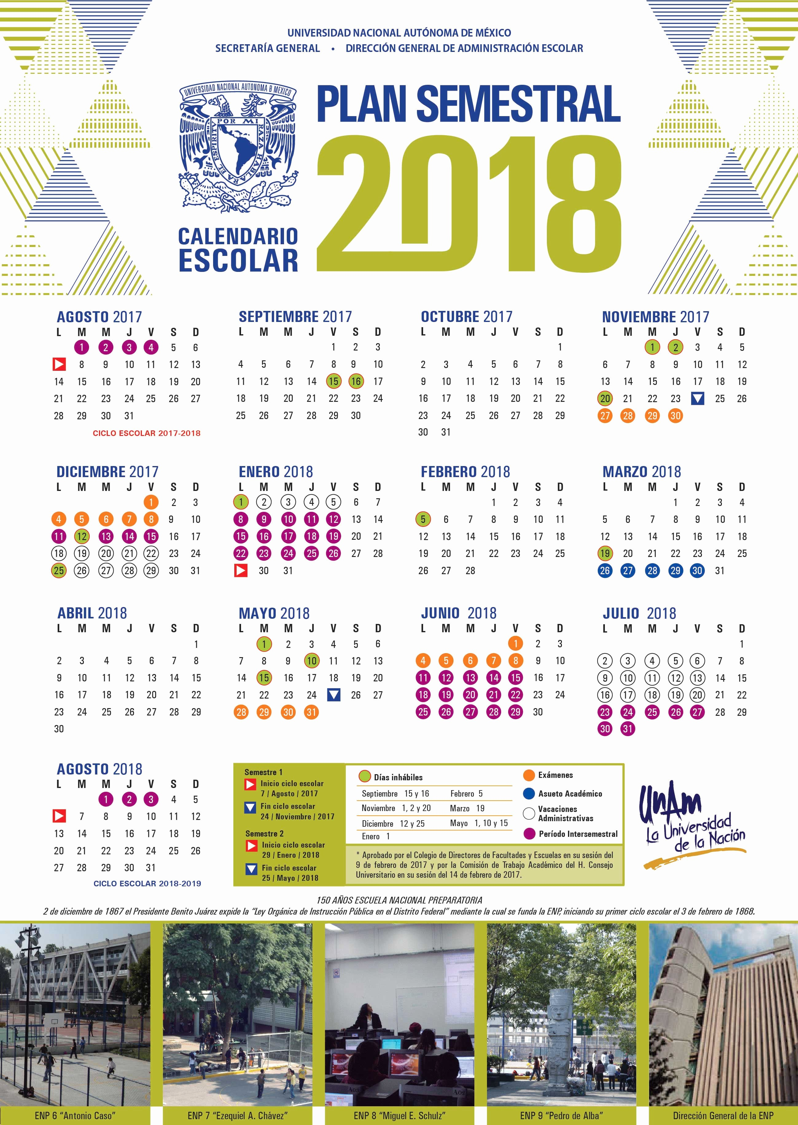 Calendario Facultad De Medicina 2019 Unam Dgae Siae Actividades