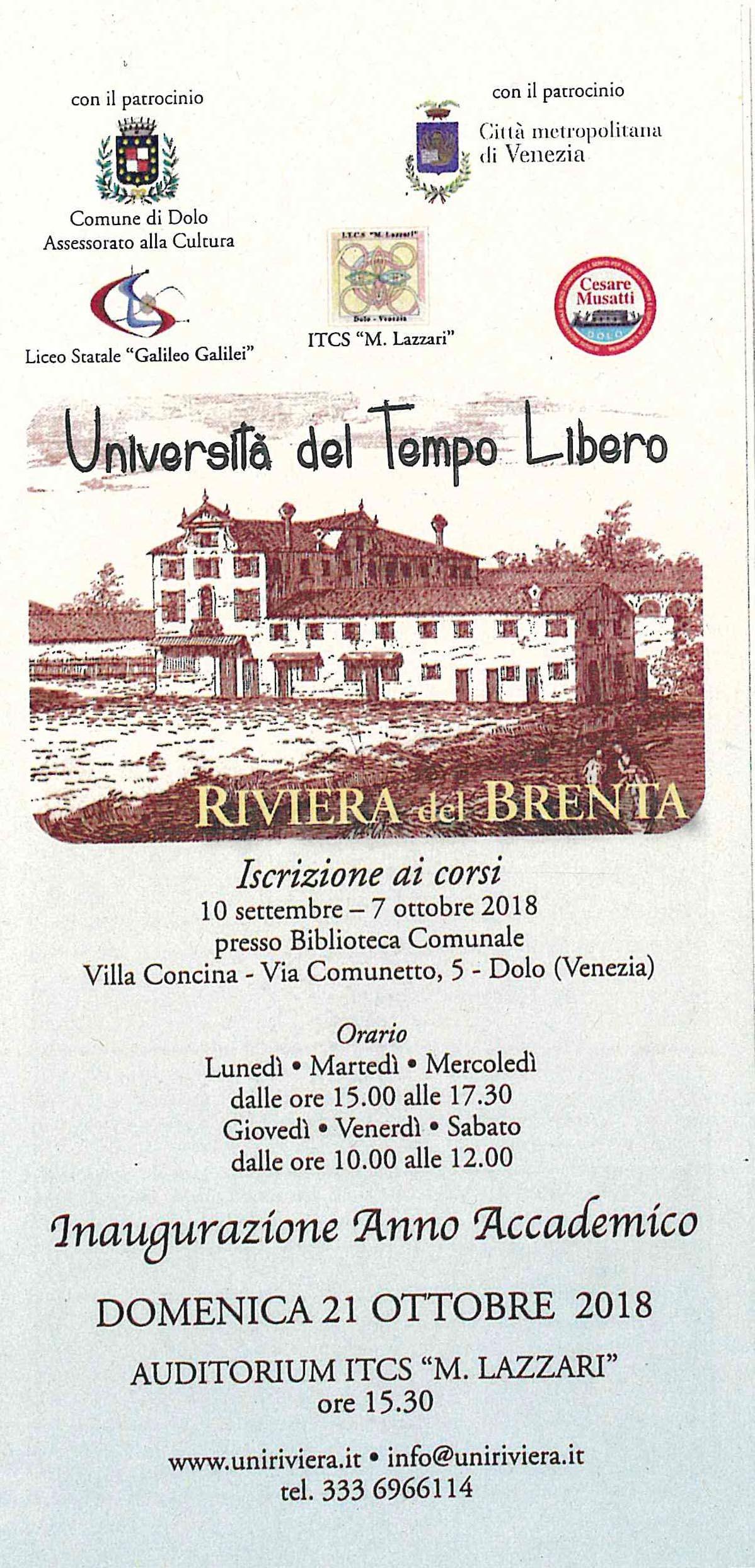 CORSI DELL UNIVERSITA DEL TEMPO LIBERO RIVIERA DEL BRENTA DI DOLO ANNO ACCADEMICO