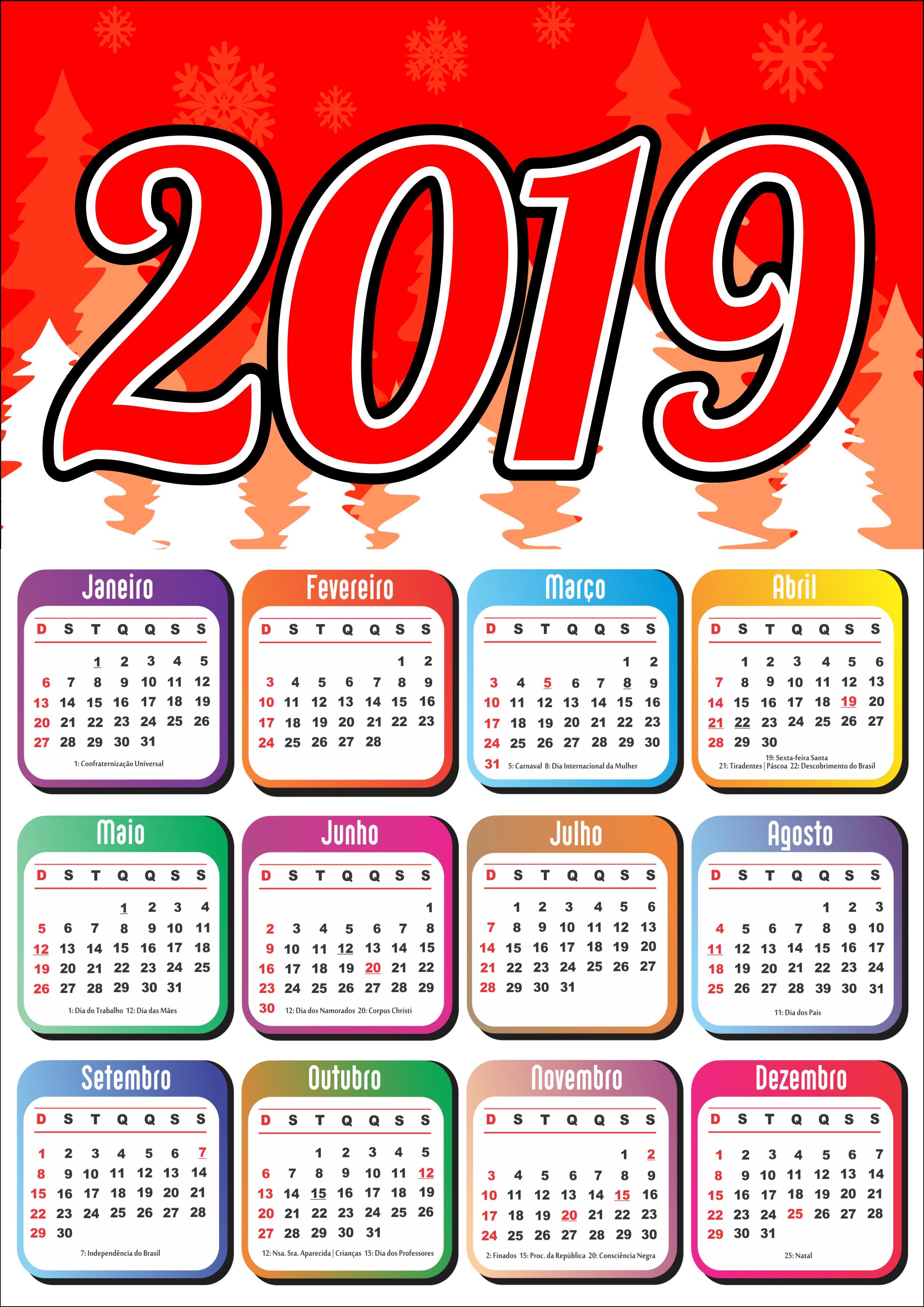 Calendário 2019 Calendários Pinterest