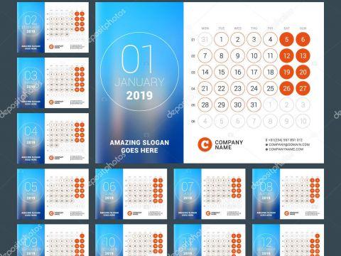 Calendario De Fevereiro 2019 Para Imprimir Más Reciente Esk Calendário Para O Ano De 2019 Conjunto De 12 Páginas Vector