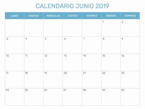 Calendario De Julio Agosto Y Septiembre 2019 Para Imprimir Actual šnico 42 Ilustraci³n Calendario Junio 2019 En Blanco