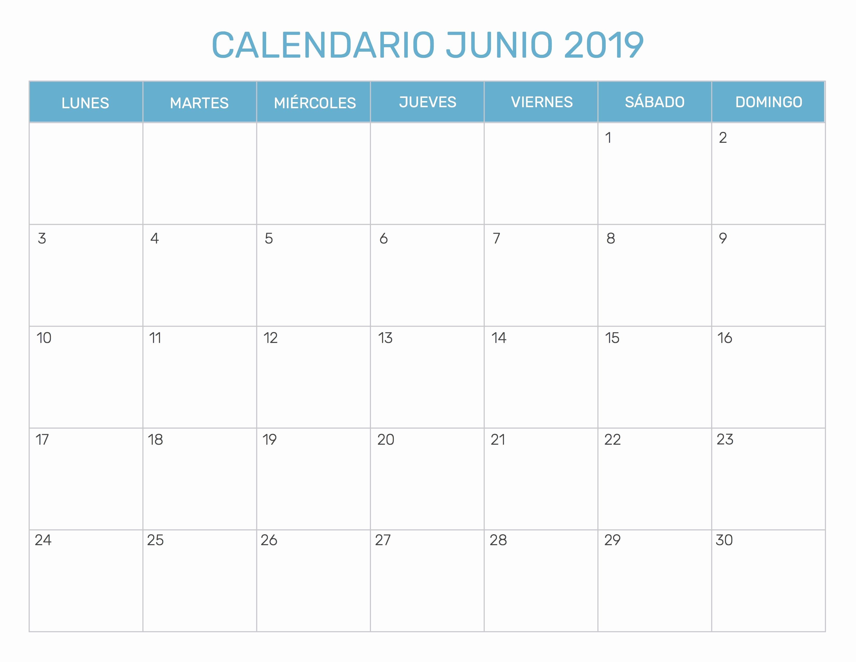 Calendario Junio 2019 En Blanco Calendario 2018 Para Imprimir Junio Kalender Hd