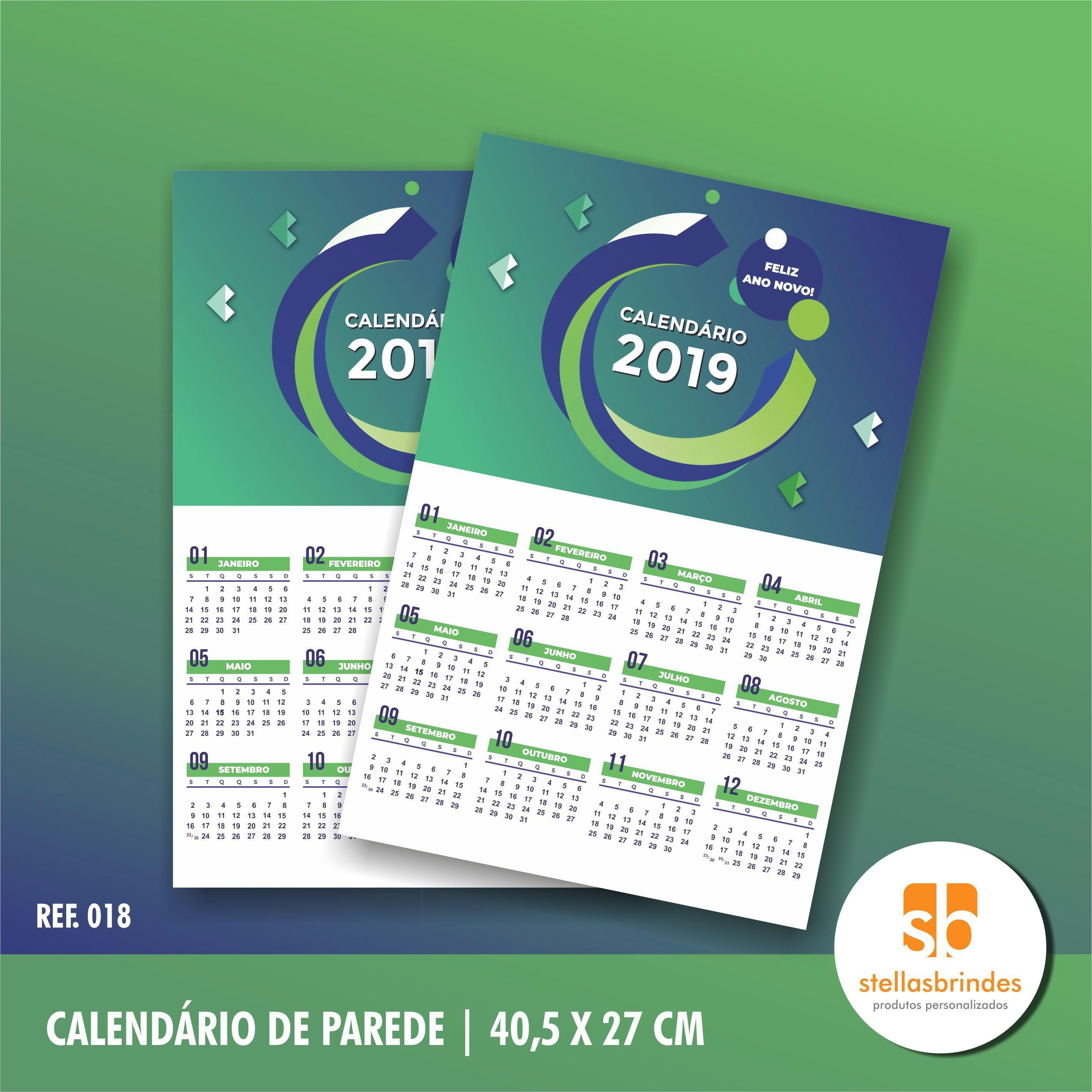calendario de parede 2019 folhinha ref 018 brindes promocionais