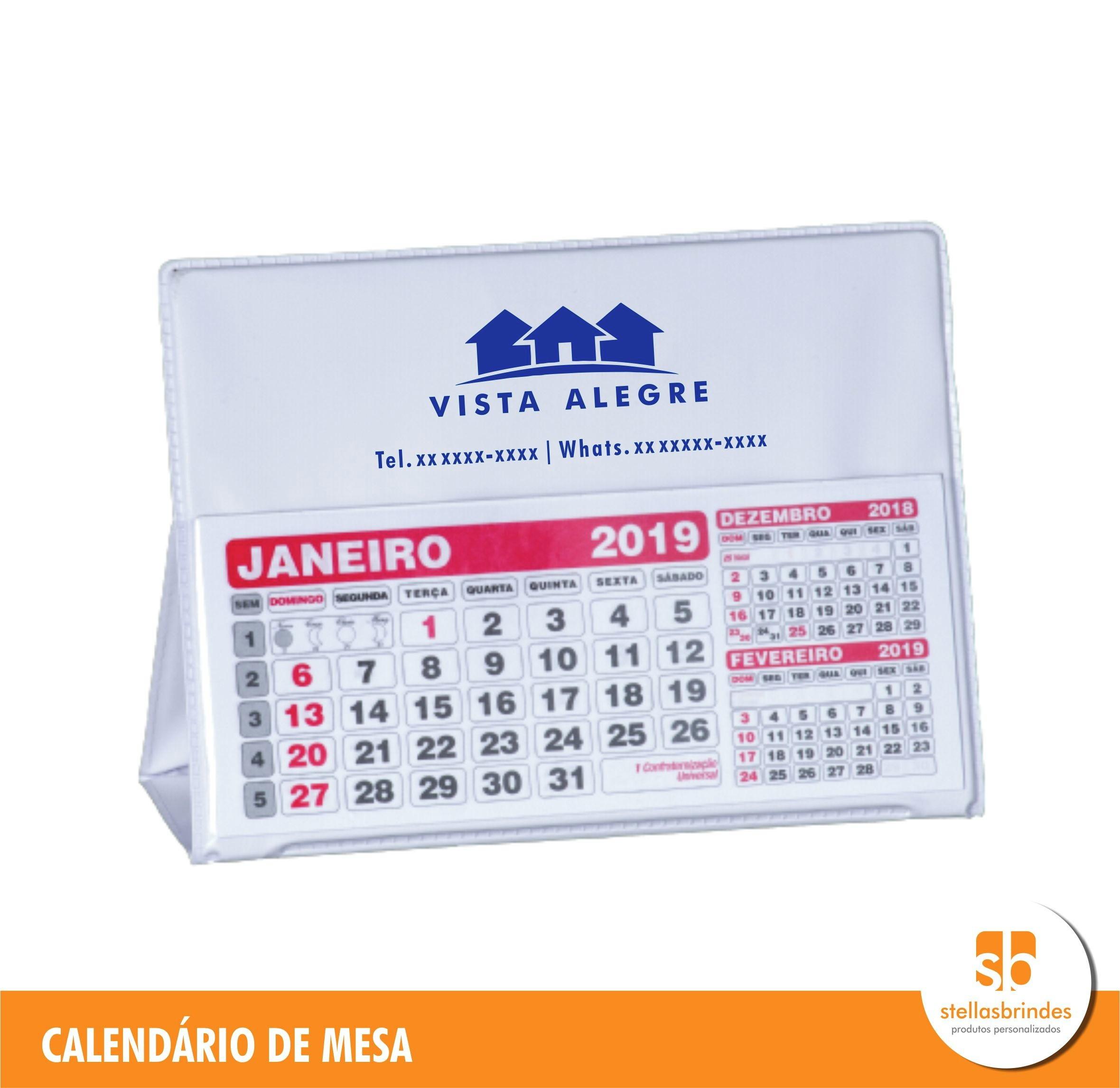 calendario de mesa 2019 personalizado a partir de 500 und brindes promocionais