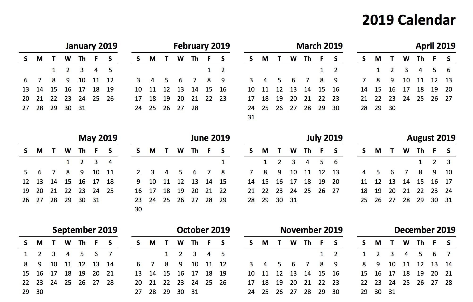 12 Month Calendar 2019 Printable 12 Month Calendar 2019 Printable a causa de calendario imprimir