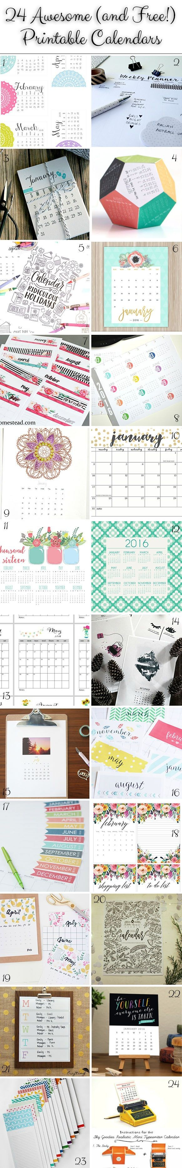 January Pinspiration Pretty Printable Calendars