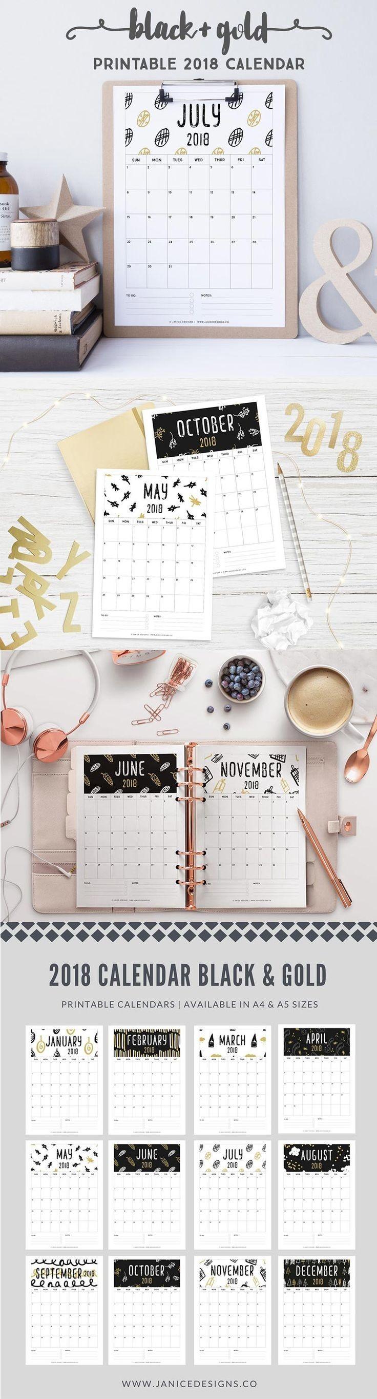 2018 Calendar Black & Gold
