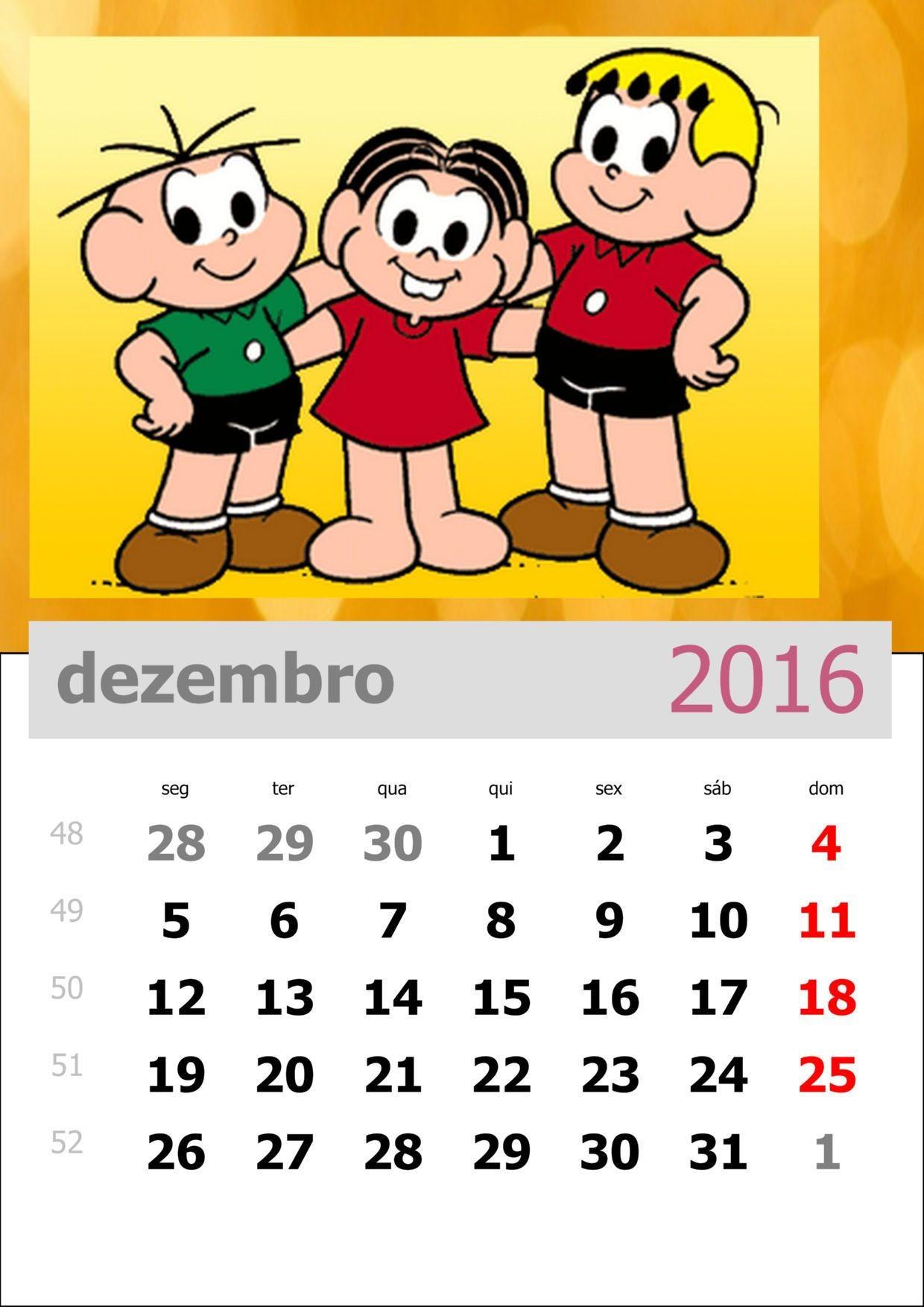 Calendário 2016 da Turma da M´nica para imprimir Mais