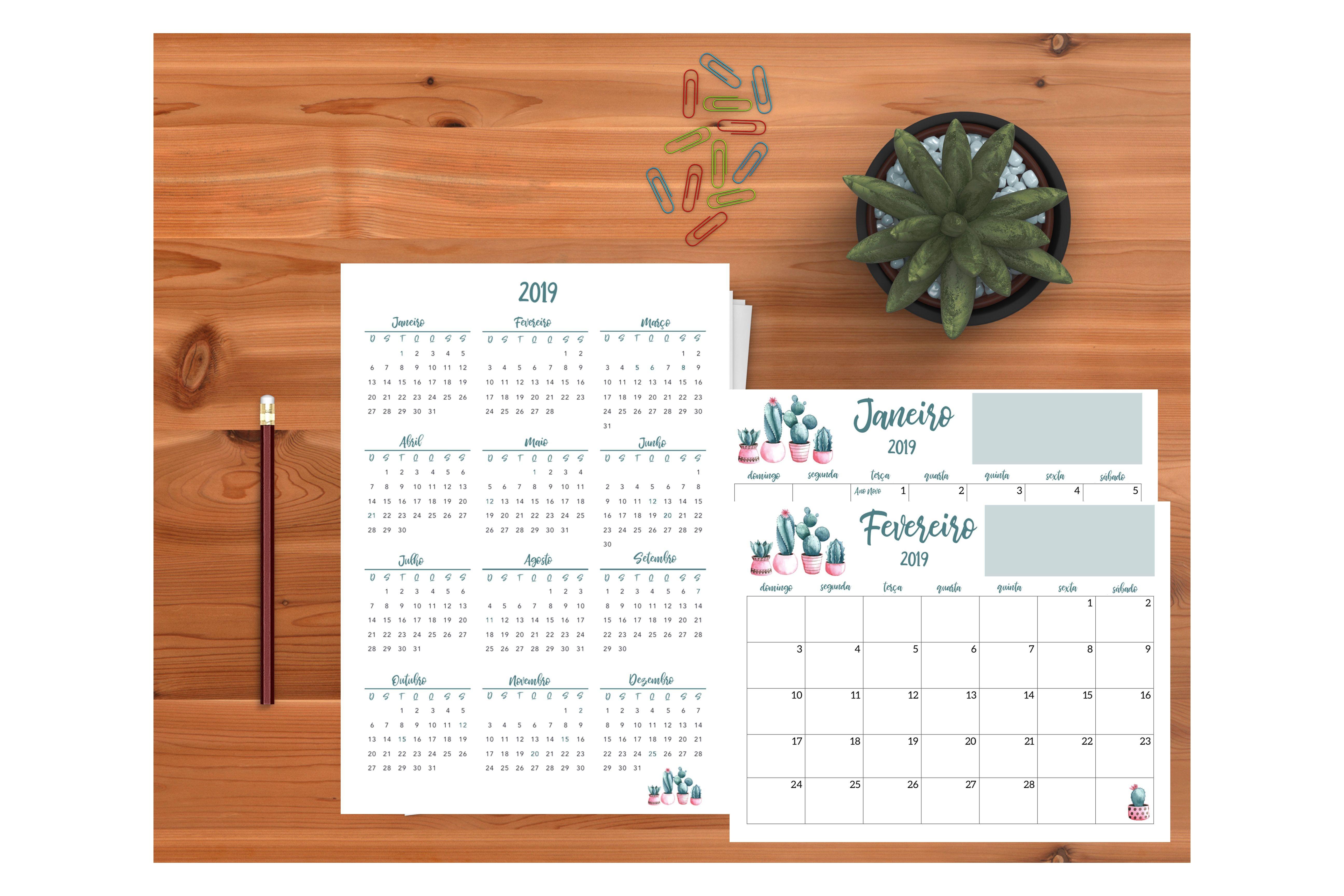 Planner 2019 Calendário Cactos Pdf Feriados Nacionais datas emorativas organiza§£o calendário de página inteira