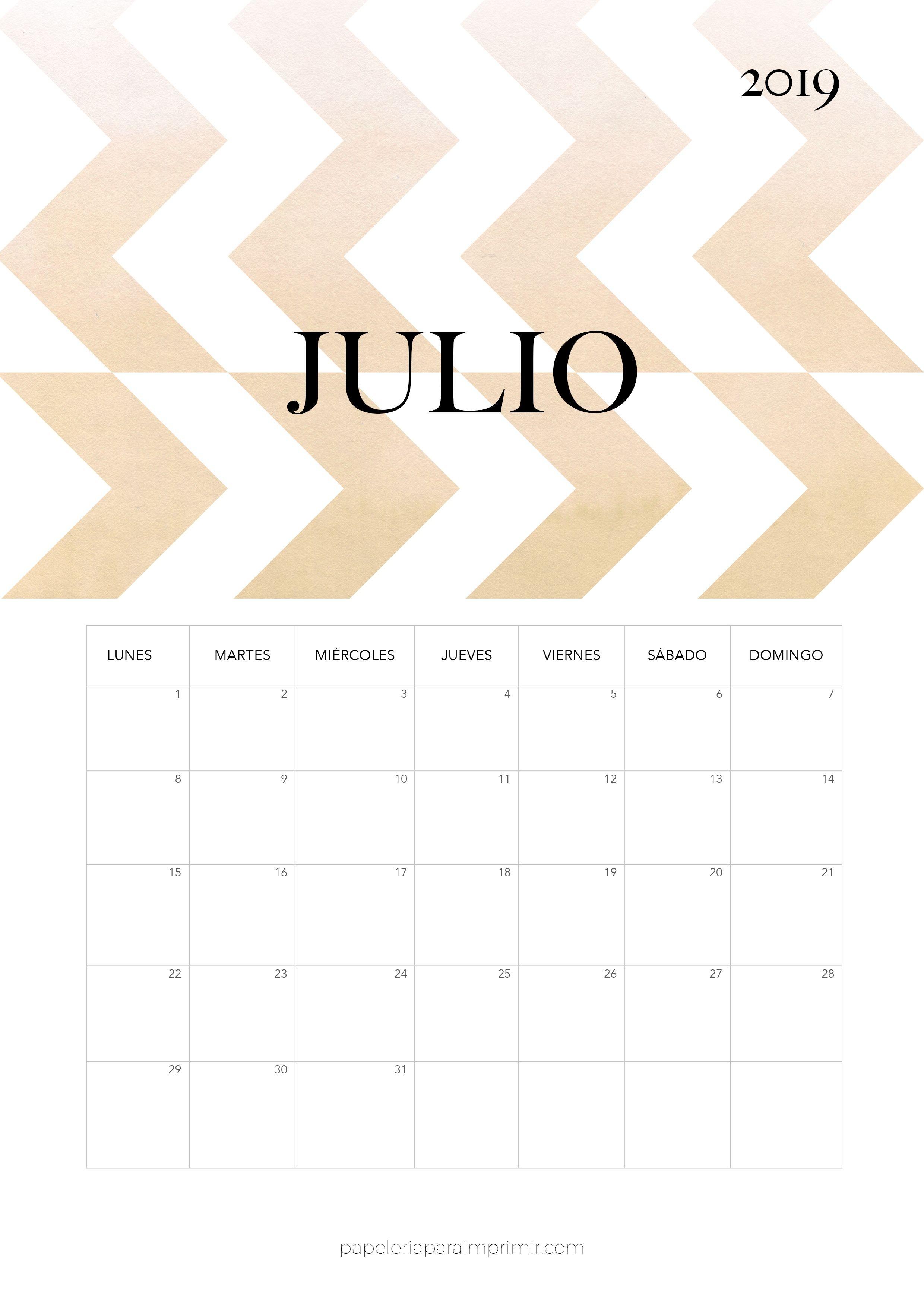 Calendario 2019 Julio Calendario mensual moderno de estilo minimal para imprimir gratis Descárgalo en alta