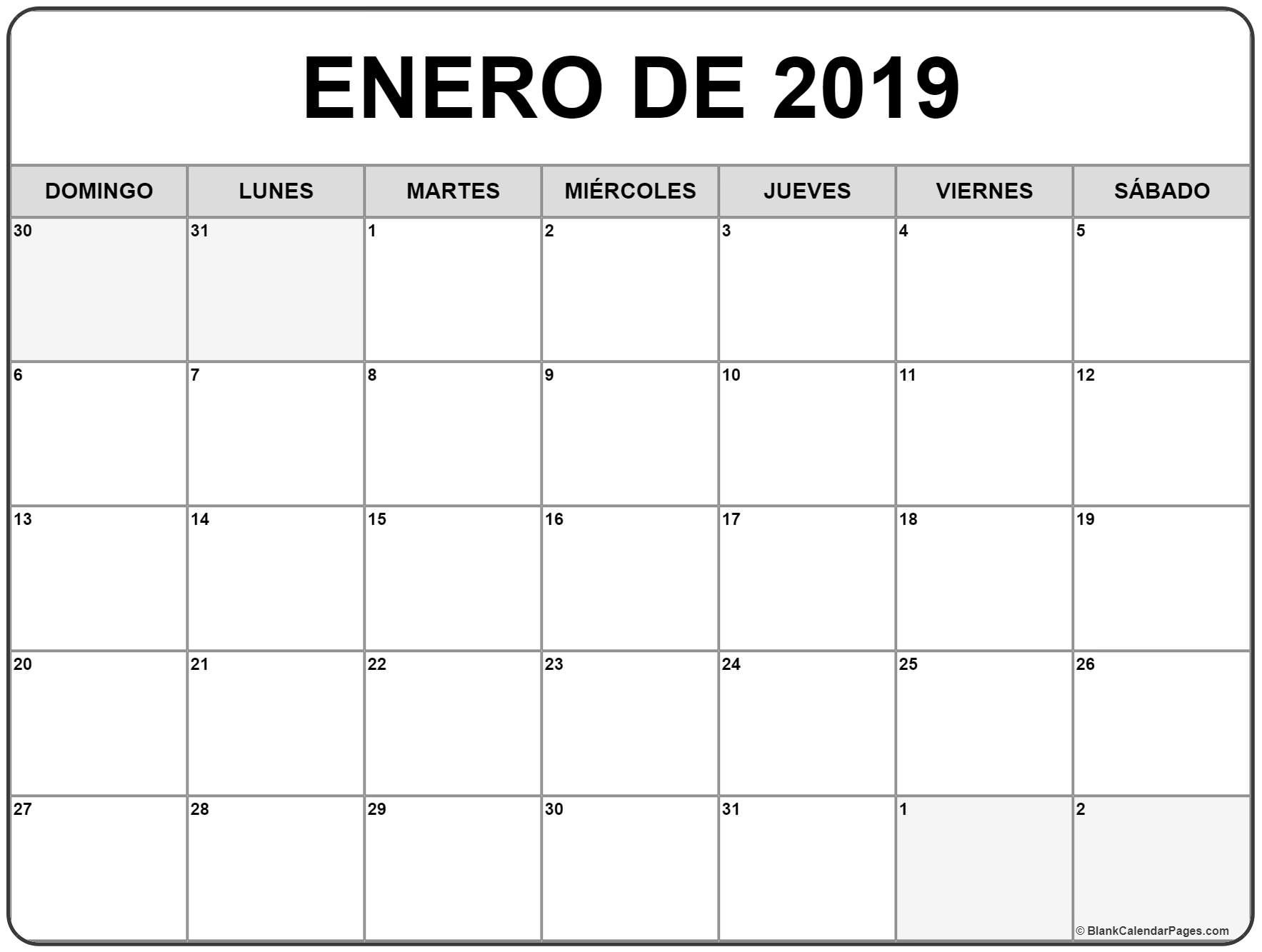 Mes enero 2019 descarga enero de 2019 calendario gratis