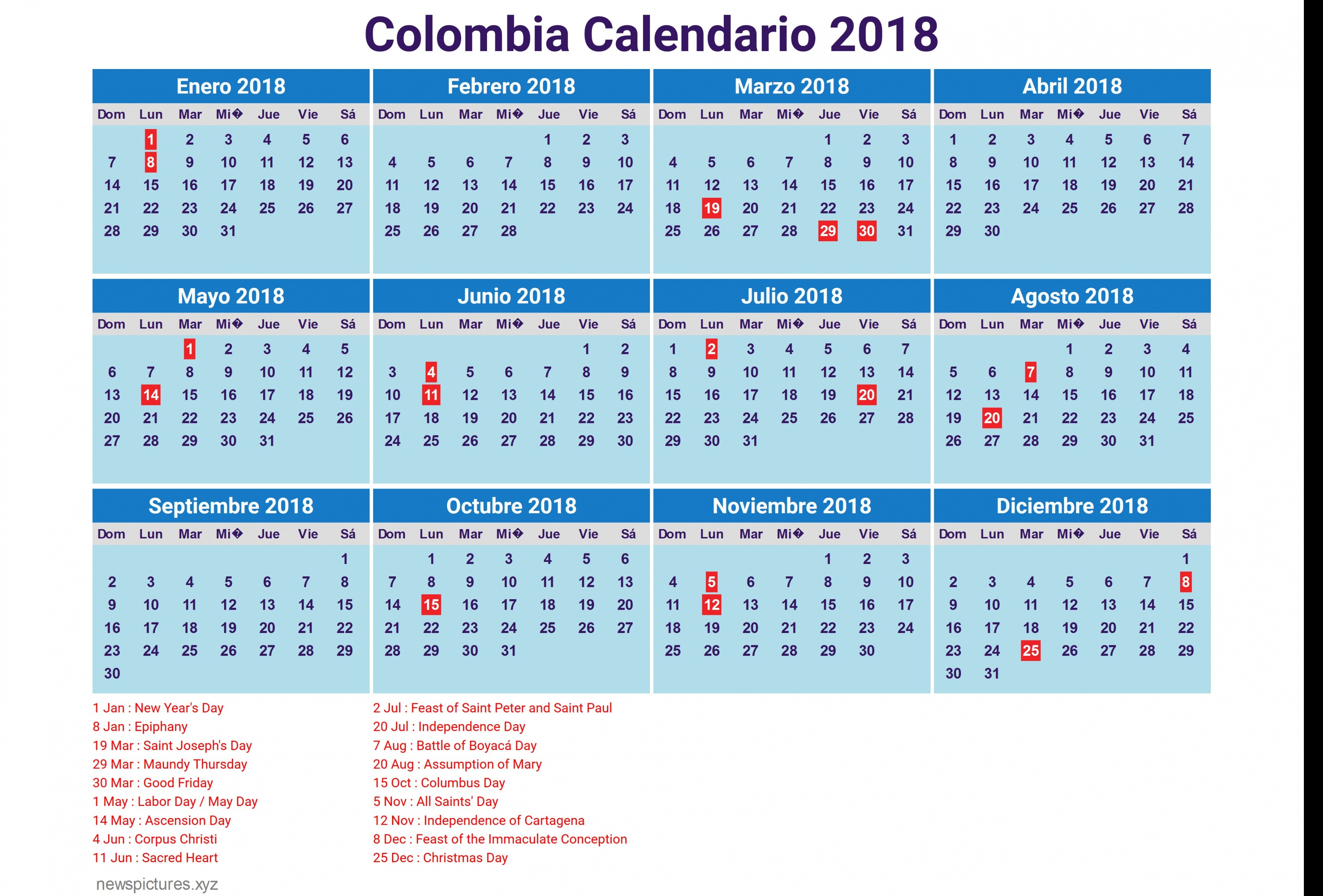 Calendario 2018 Con Festivos — Fiesta de lamusica medellin
