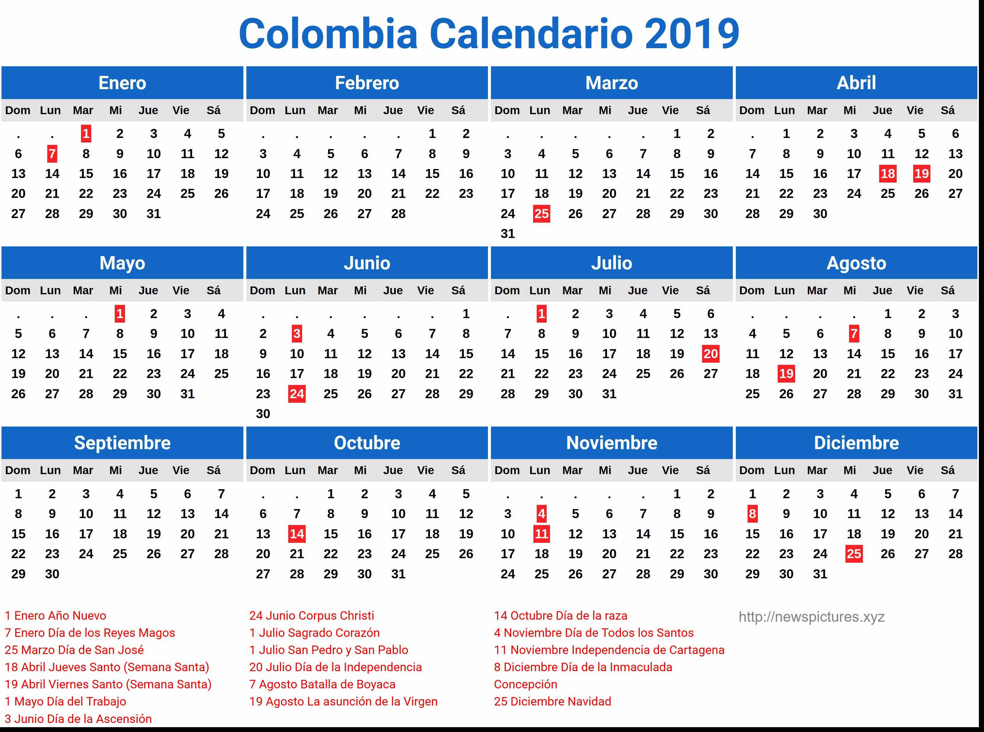 Calendario Meccanocar 2019 Calendario 2019 Colombia Dias Festivos Newspictures Xyz