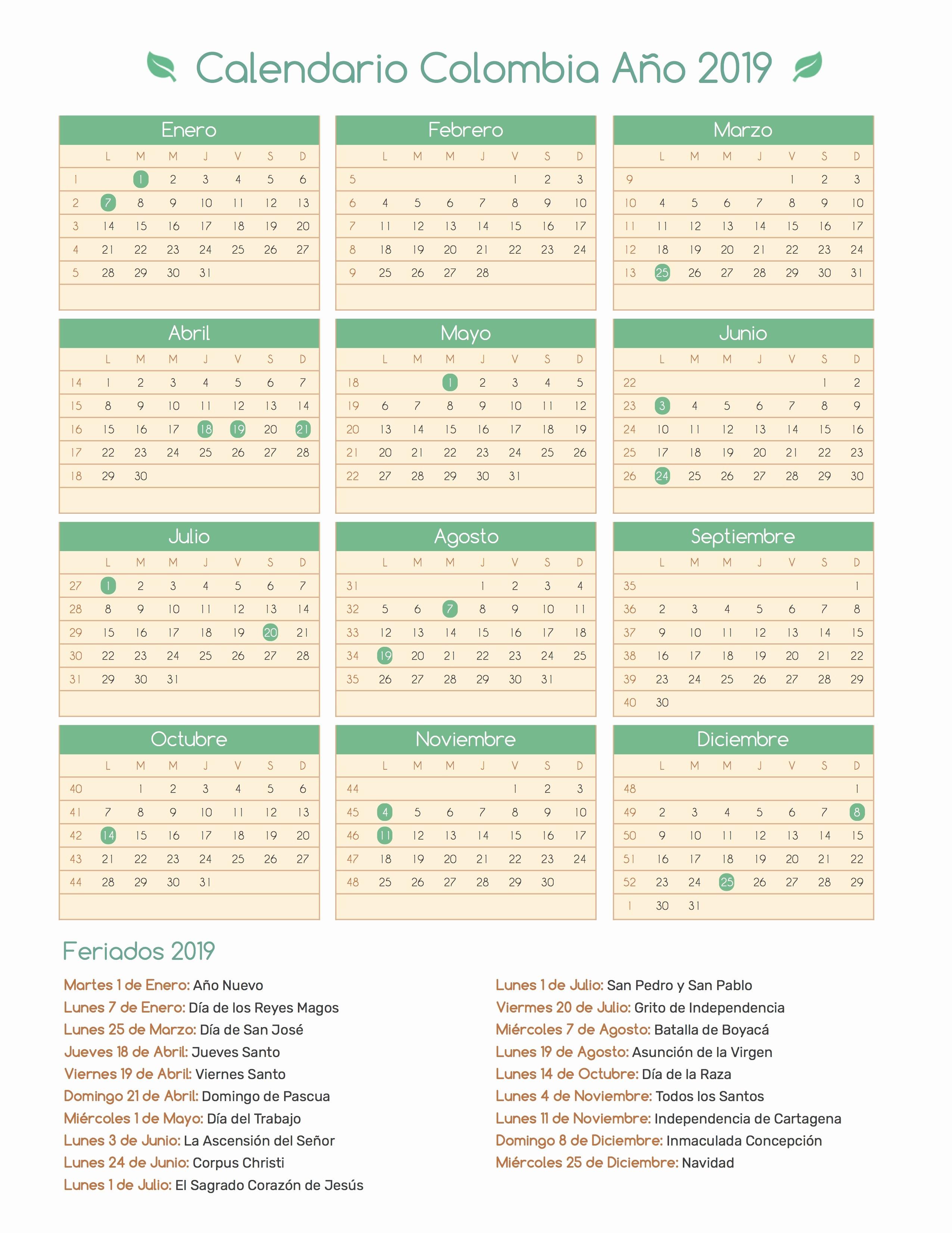 Calendario Ade Uma 2019 Calendario Colombia Ano 2019 Feriados