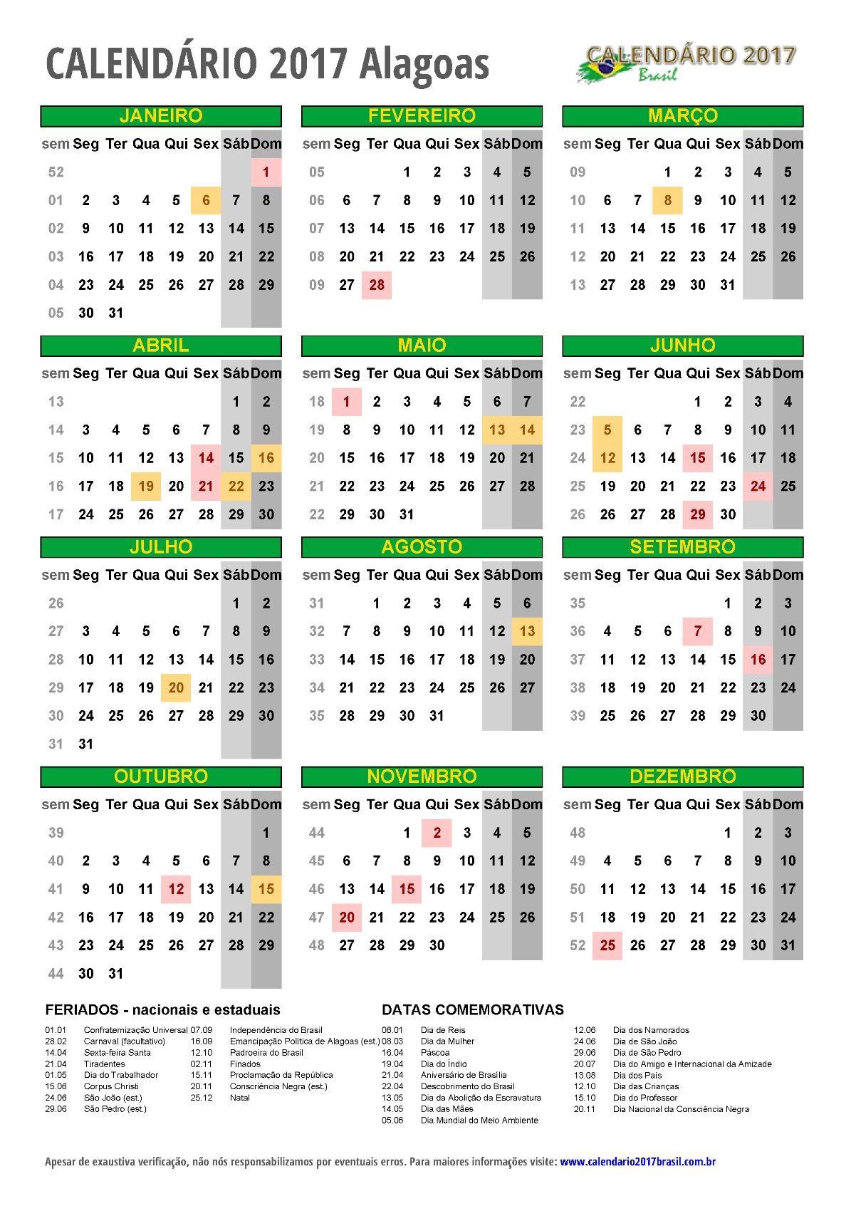 calendario 2017 Alagoas retrato m