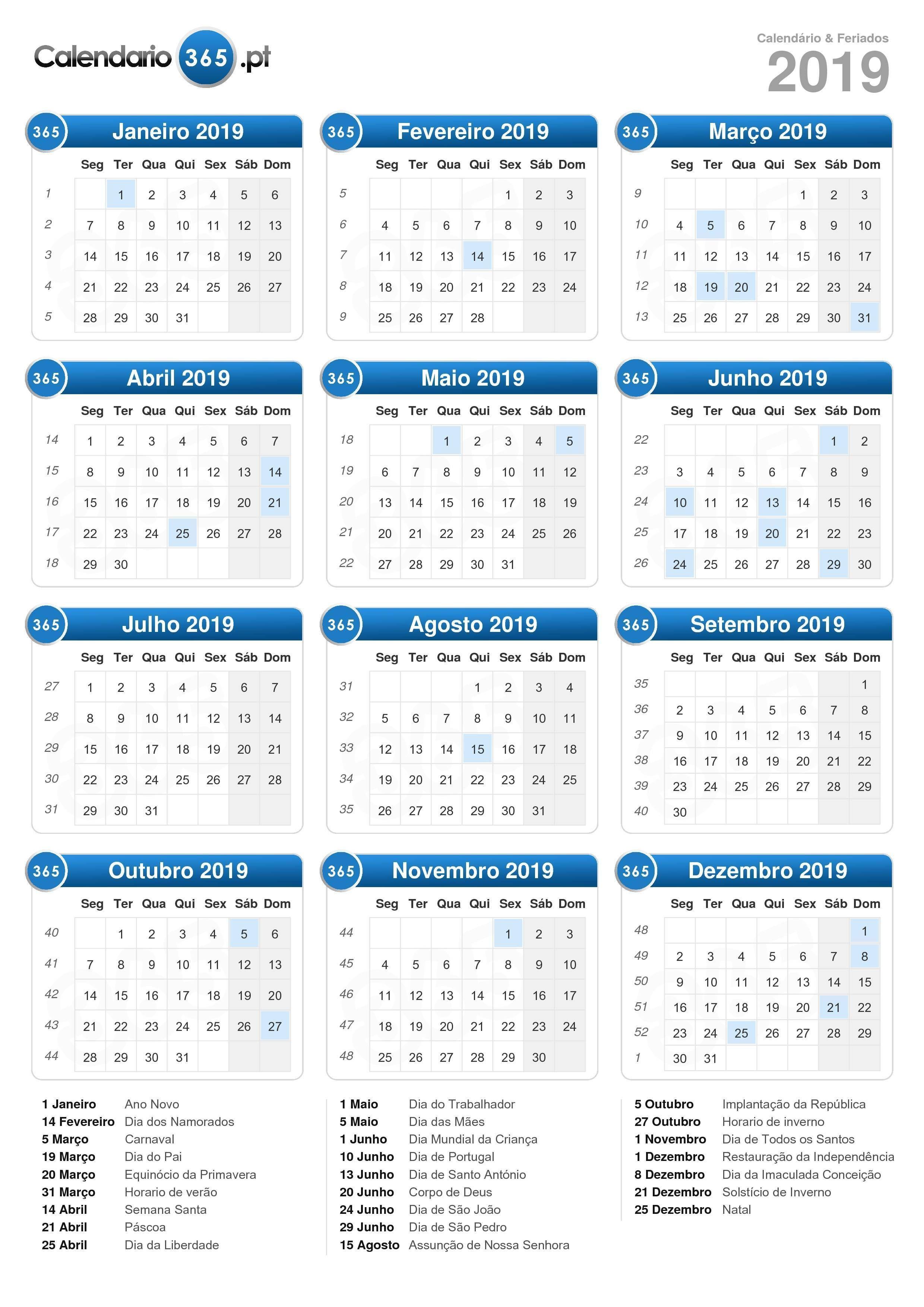 Calendário 2019 formato de retrato