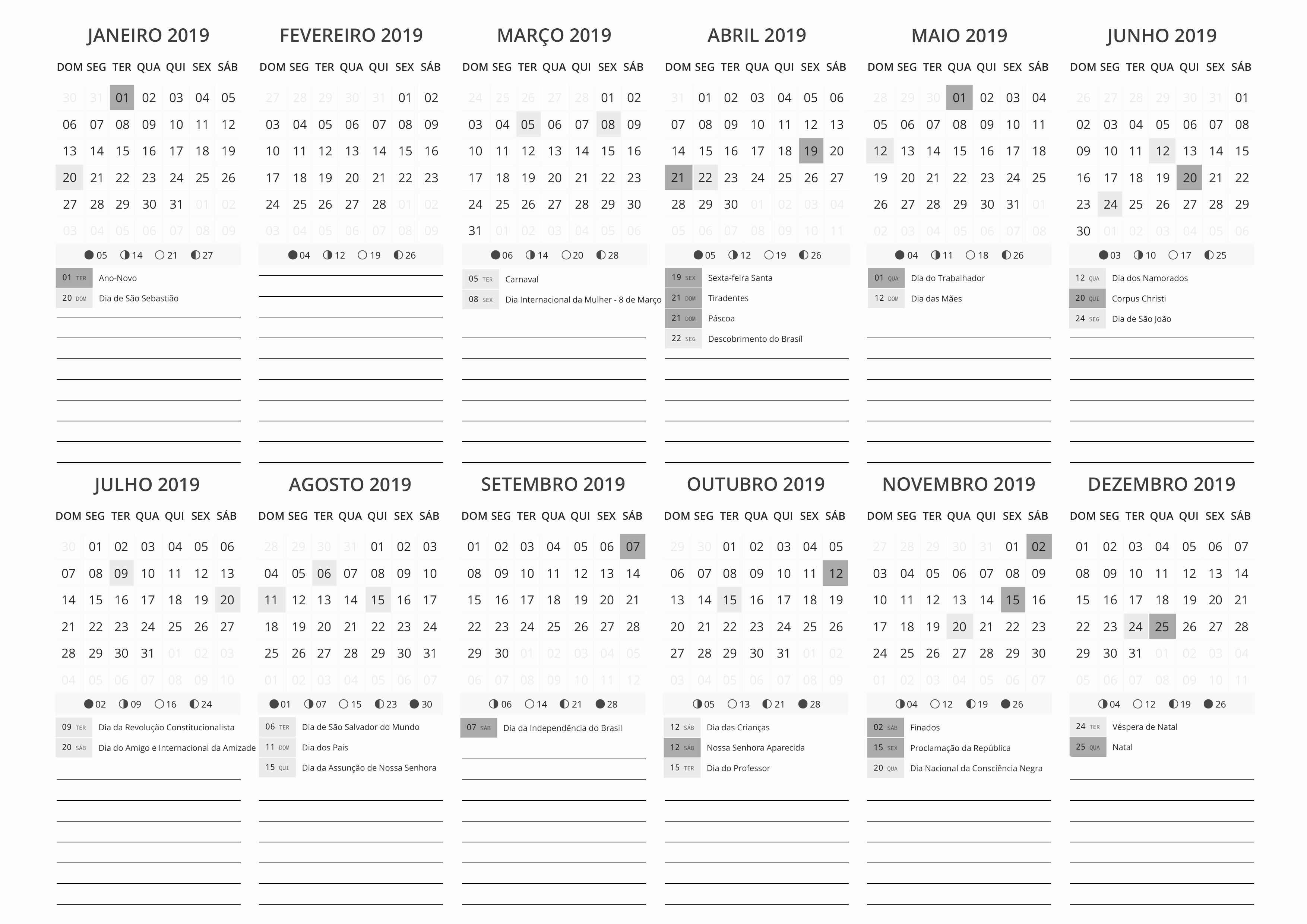 Calendario 2019 E 2019 Para Imprimir Em Portugues Calendario 2019