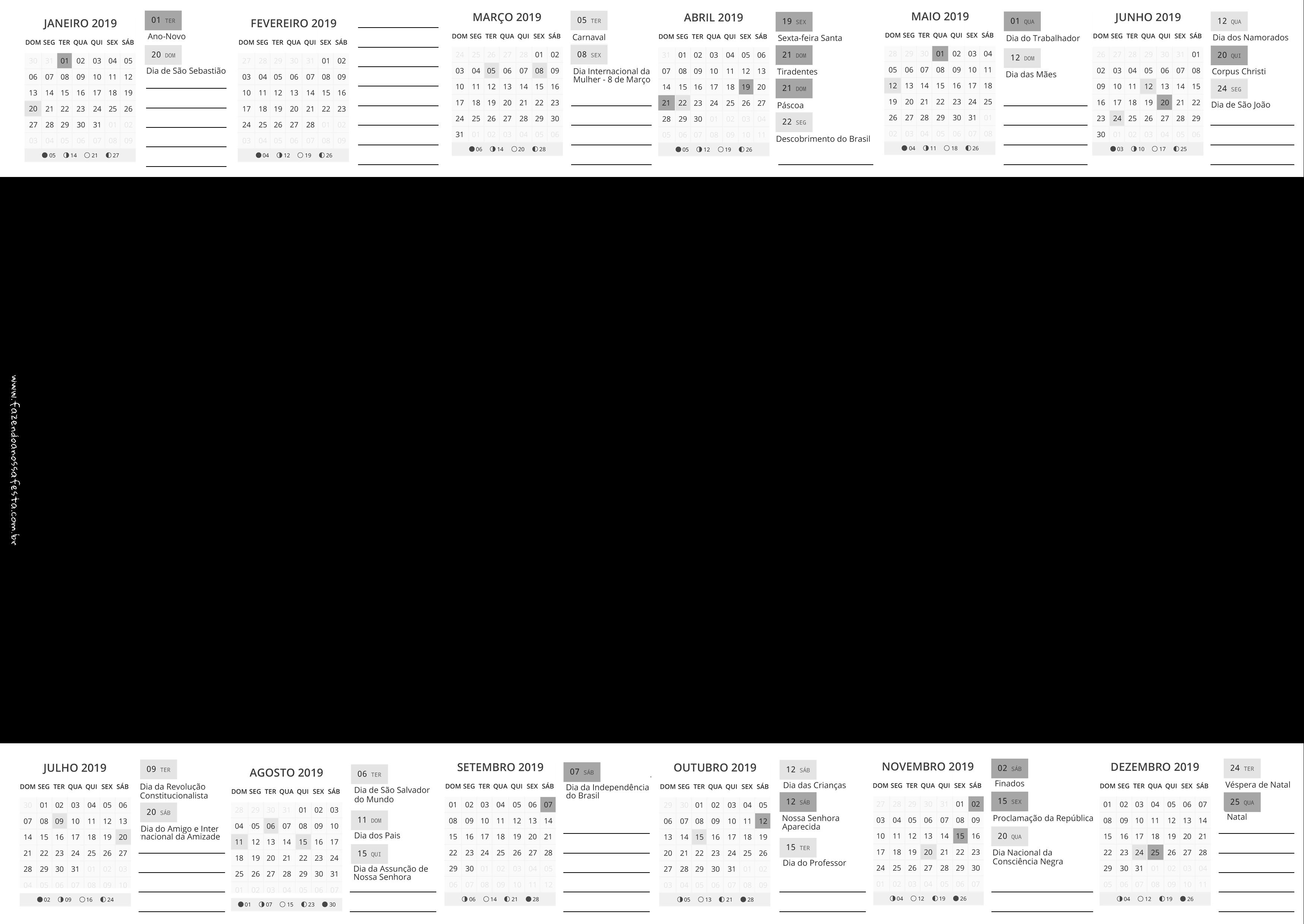 Calendario 2019 sem Fundo Fazendo a Nossa Festa
