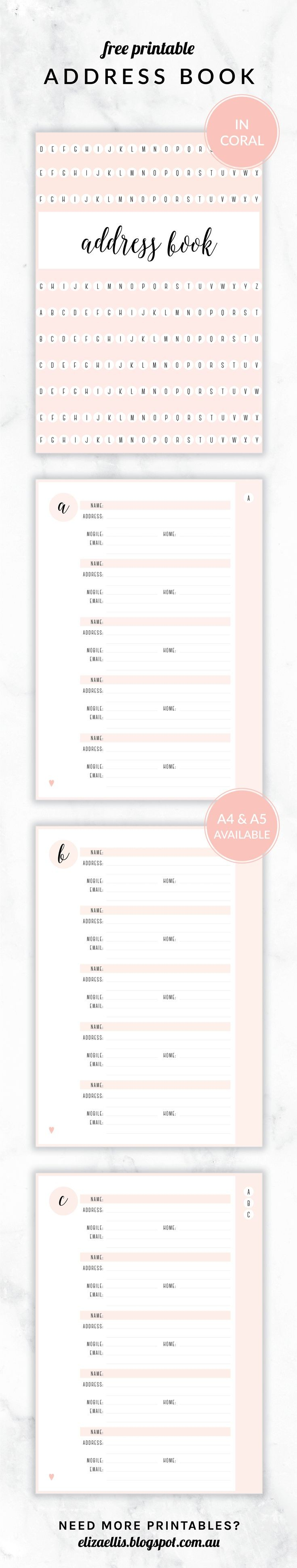 Free Printable Irma Address Book Eliza Ellis Available in 6 colors and in
