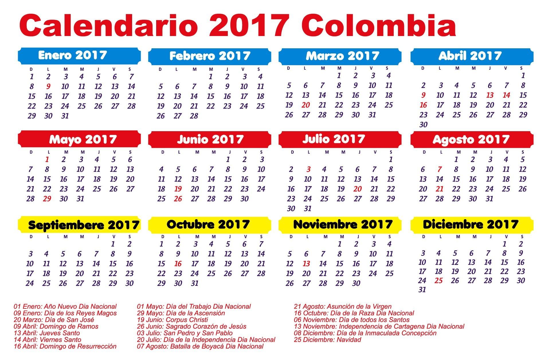 para imprimir Calendario 2017 Feriados 2017 Colombia Calendario Enero