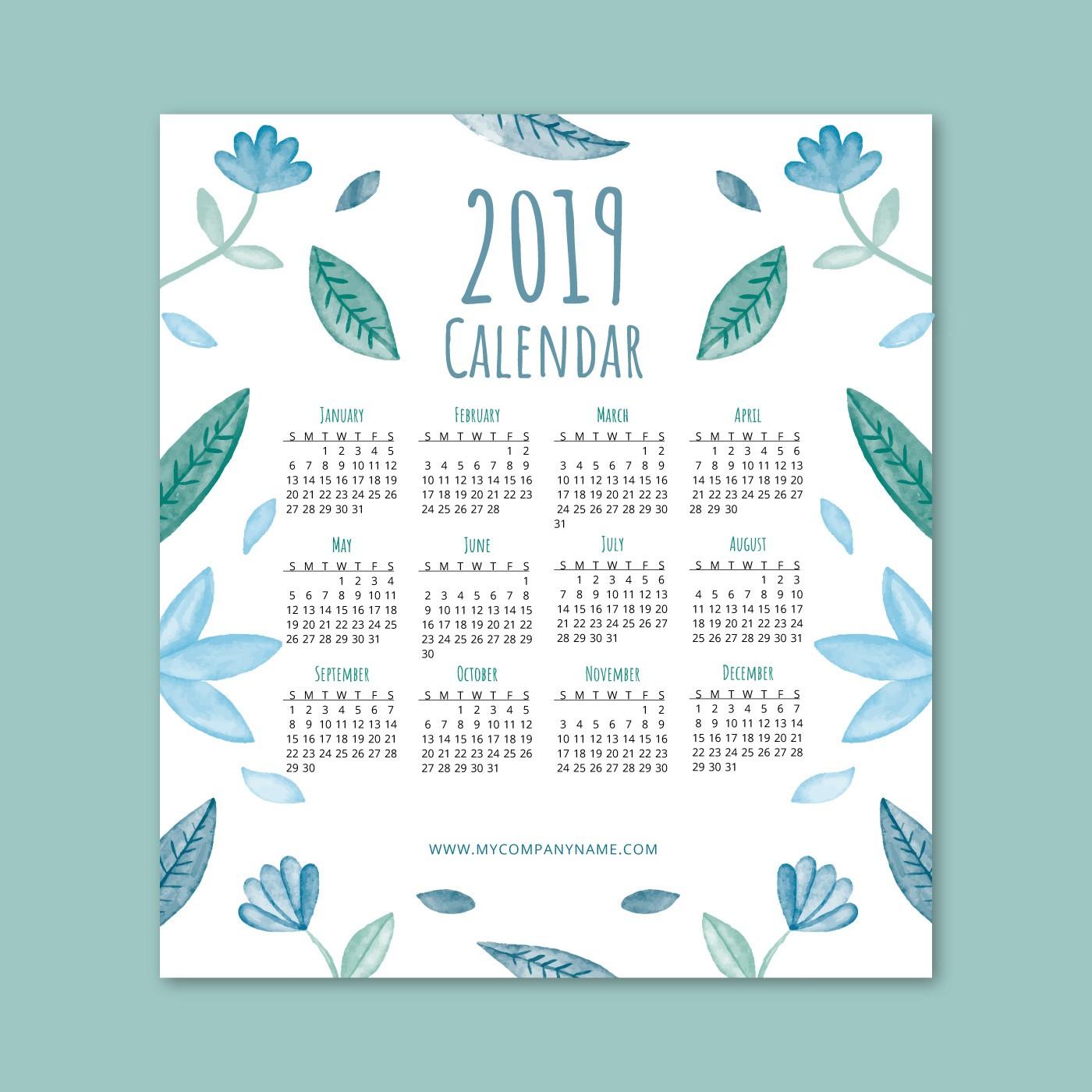 Lindo calendario 2019 con hojas azules y flores Descargue Gráficos y Vectores Gratis