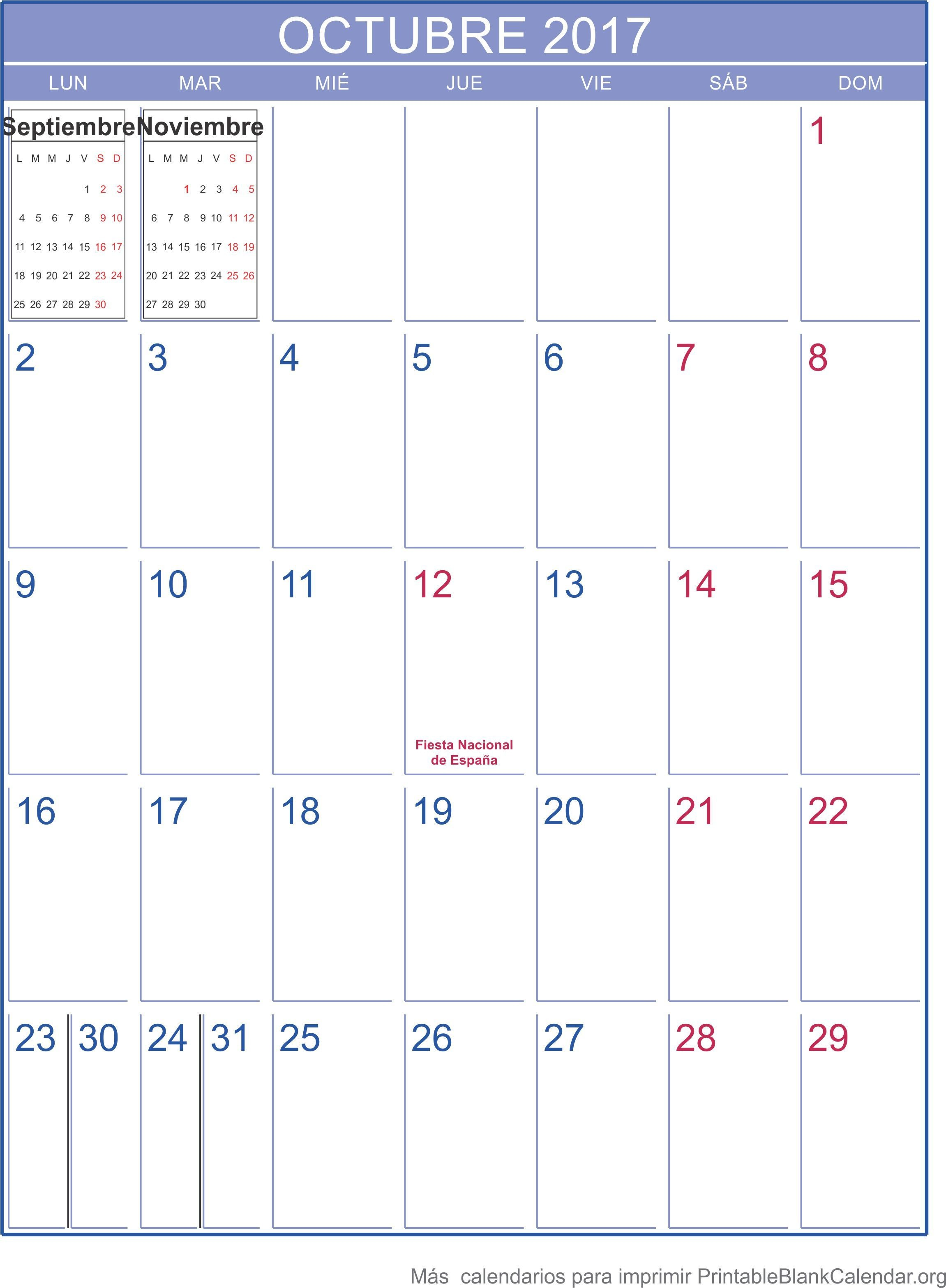 Calendario Octubre 2017 Related Keywords Calendario