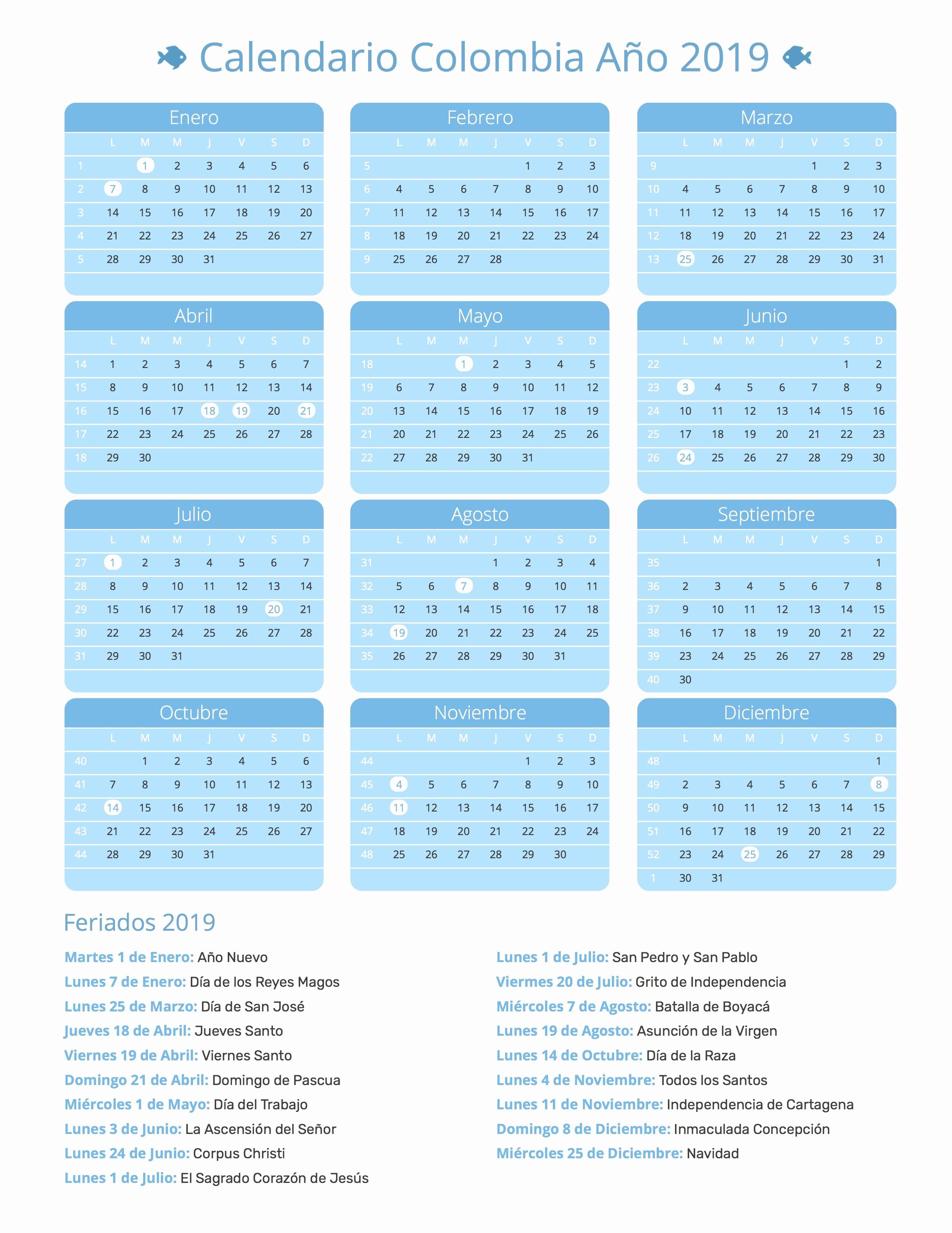 Calendario Lunar 2019 Colombia Calendario Colombia Ano 2019 Feriados