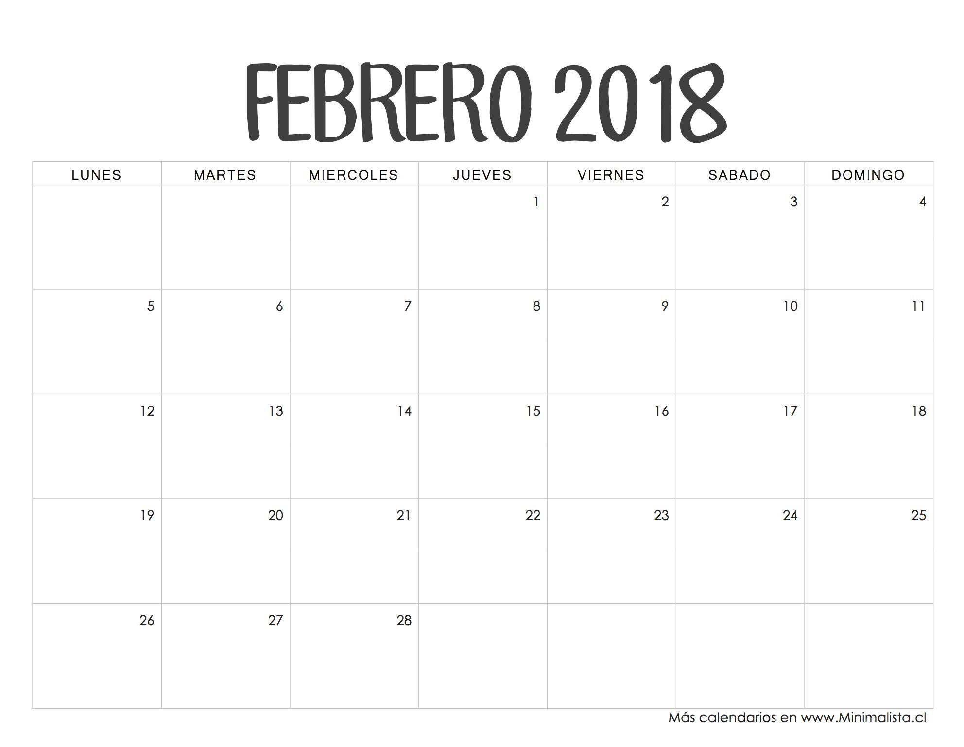 Calendario Febrero 2018