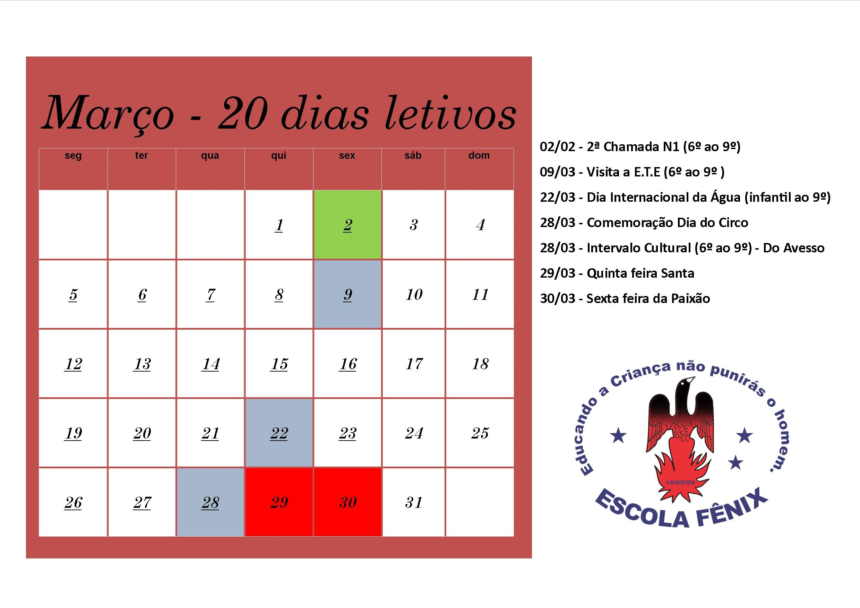 calendário mªs de mar§o de 2018 escola fªnix