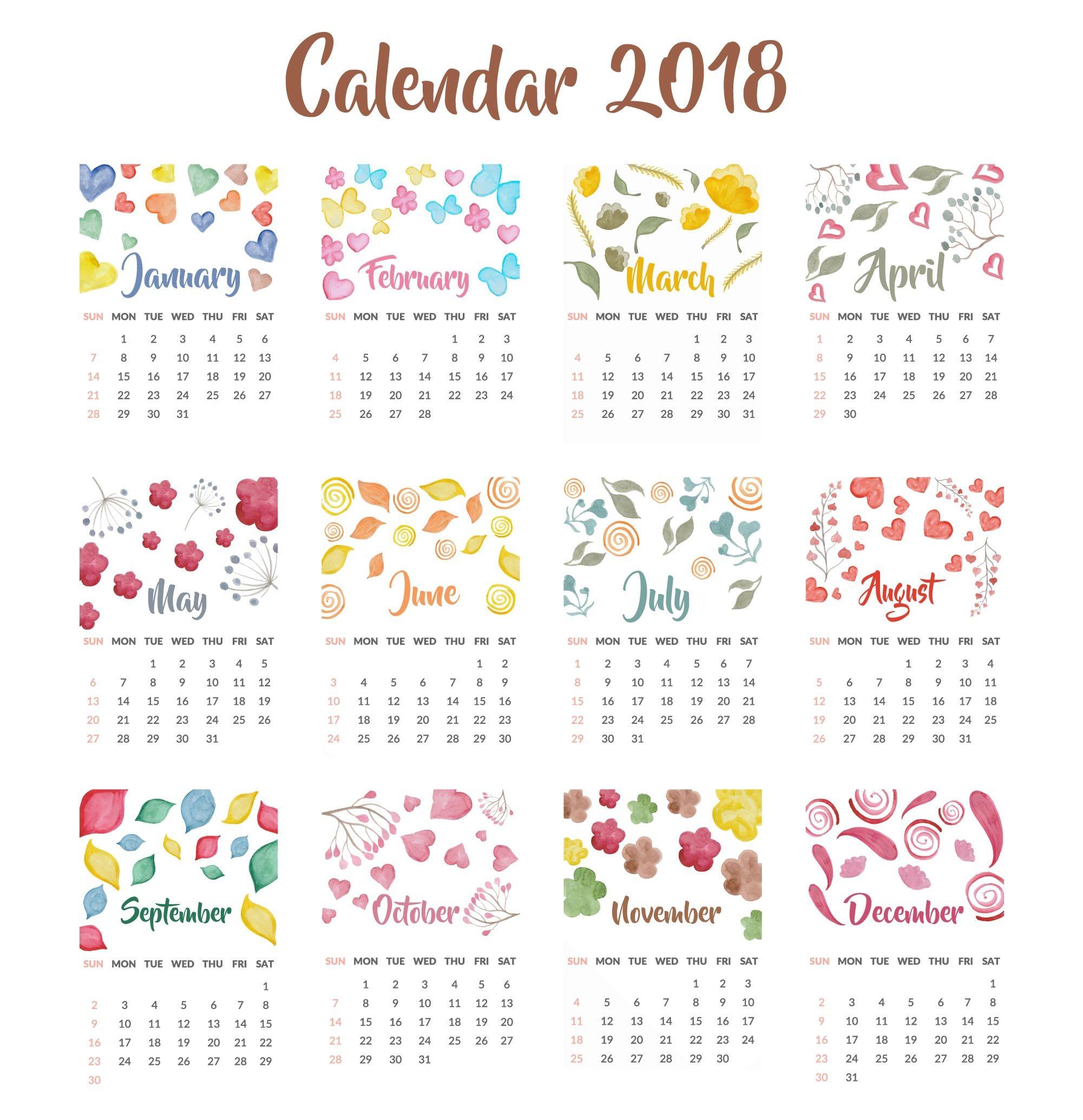 2018 Calendar Free Download