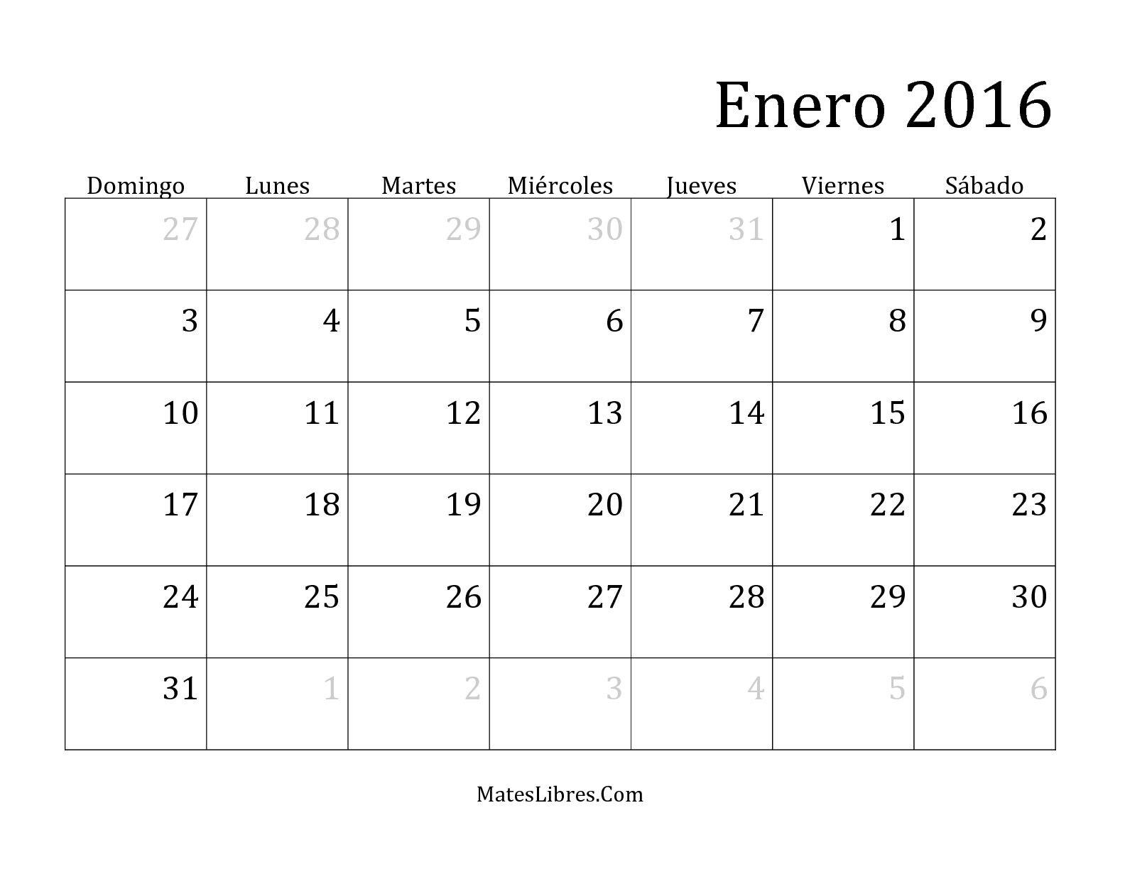 calendario mensual 2016 pin