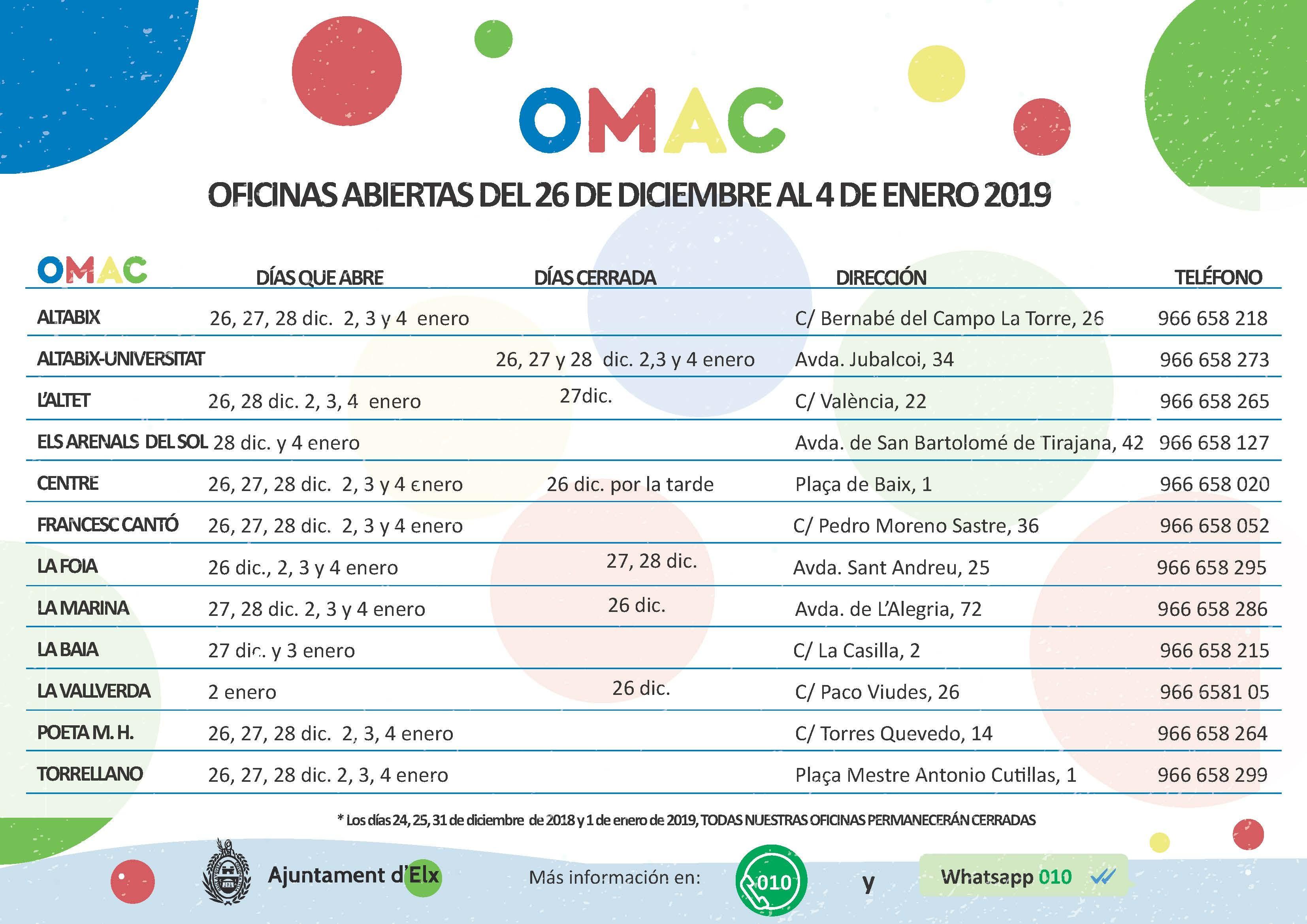 Calendario de apertura de las oficinas de atenci³n ciudadana en navidad 3308x2339 Calendario enero 215