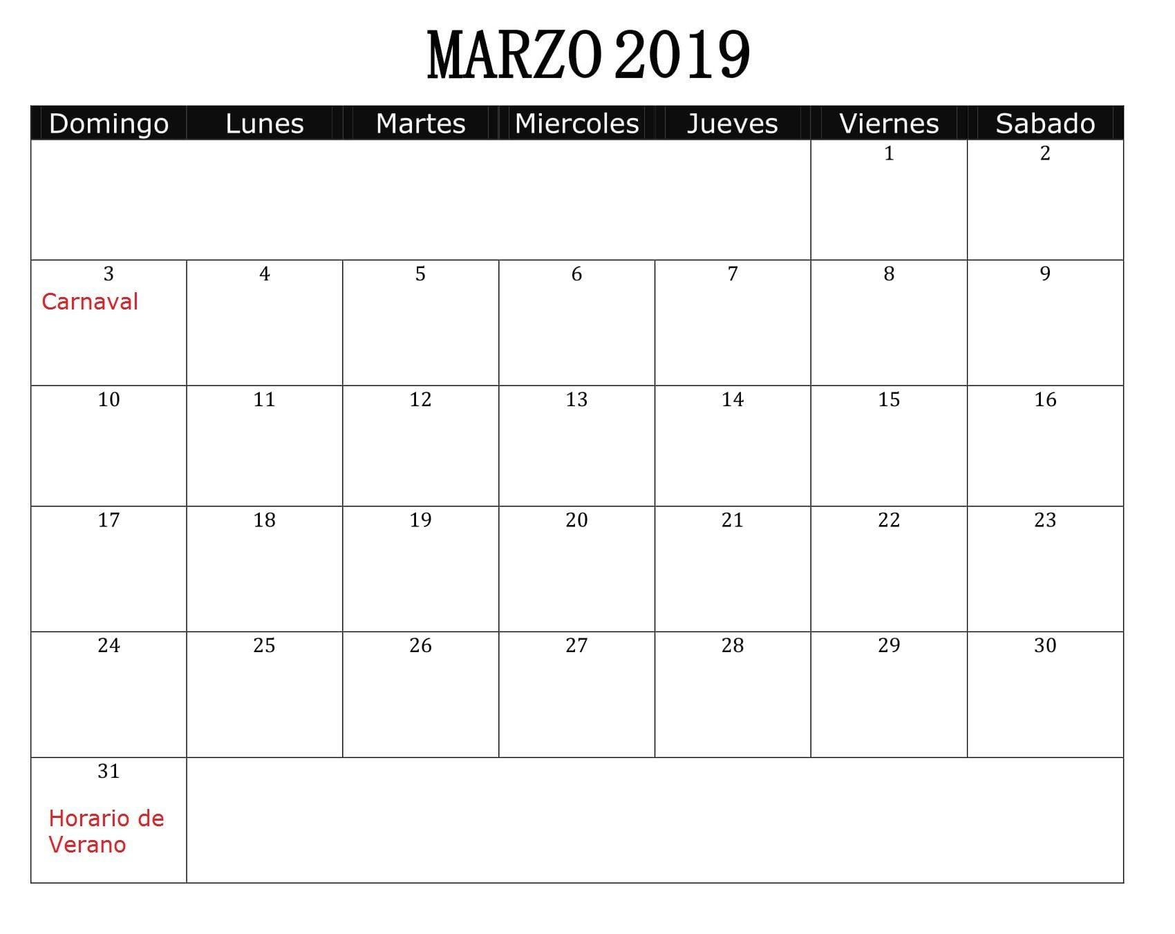 Calendario Marzo 2019 Con Festivos
