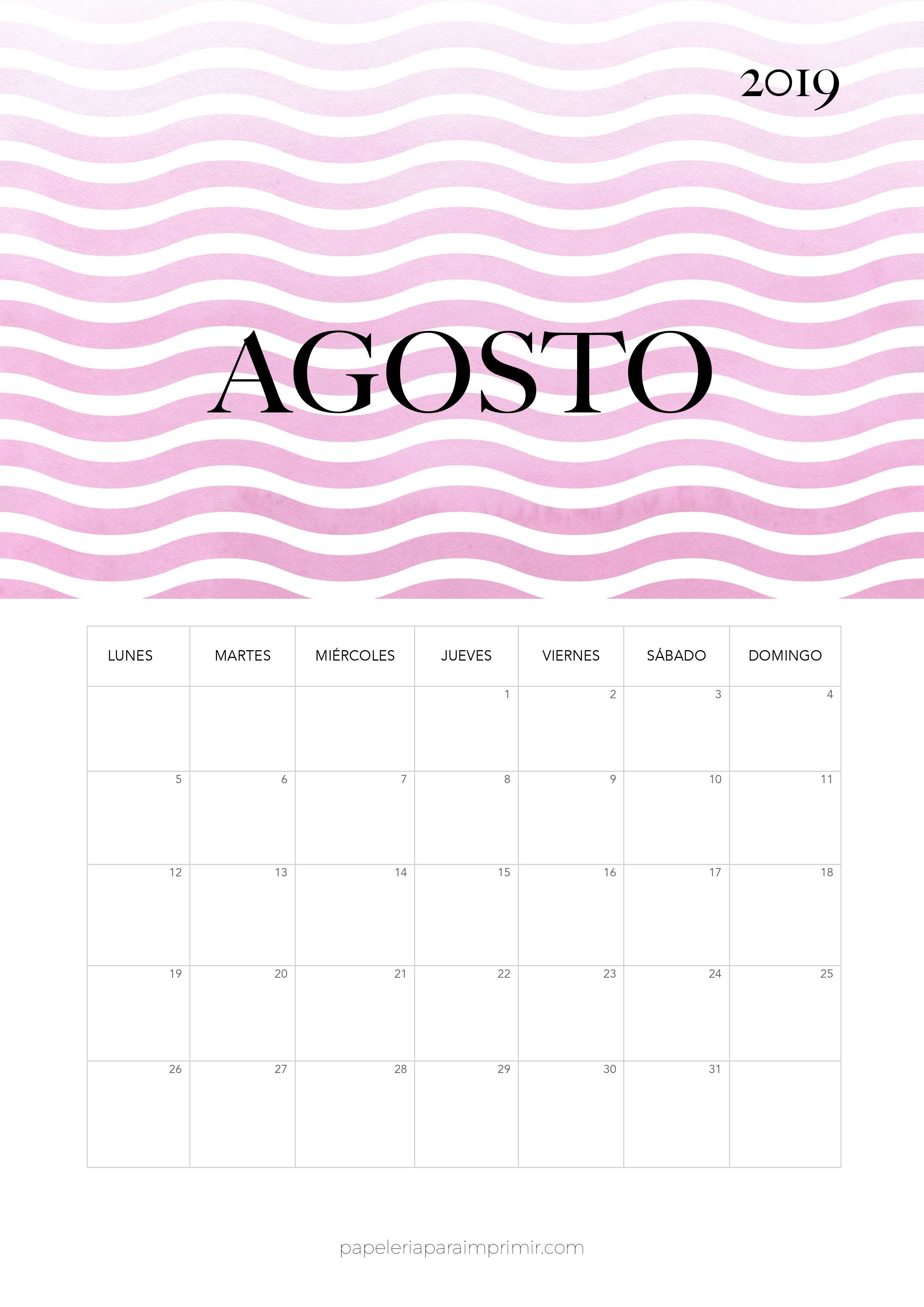 Calendario 2019 Agosto Calendario mensual moderno de estilo minimal para imprimir gratis Descárgalo en alta calidad