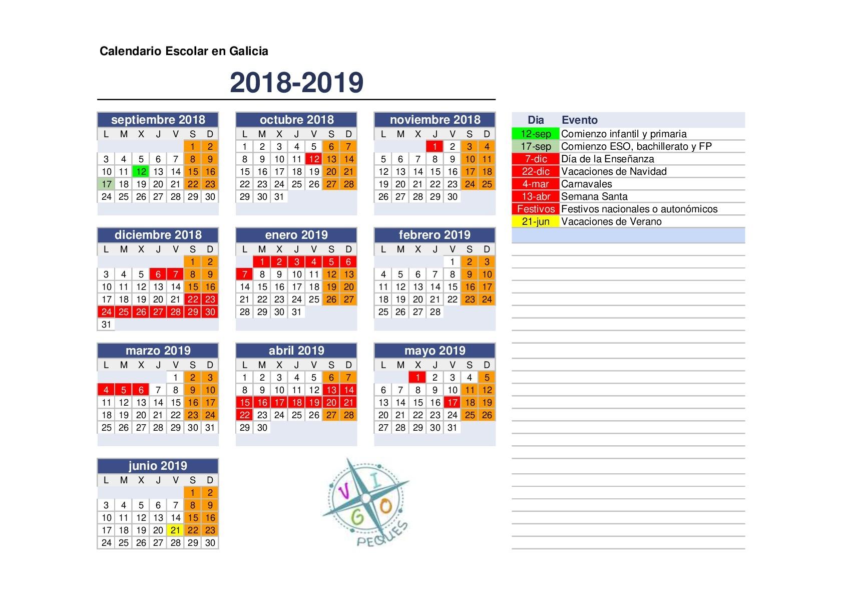 galicia 2018 2019 galicia 2018 2019 Calendario Escolar 2018 Sep Semana Santa