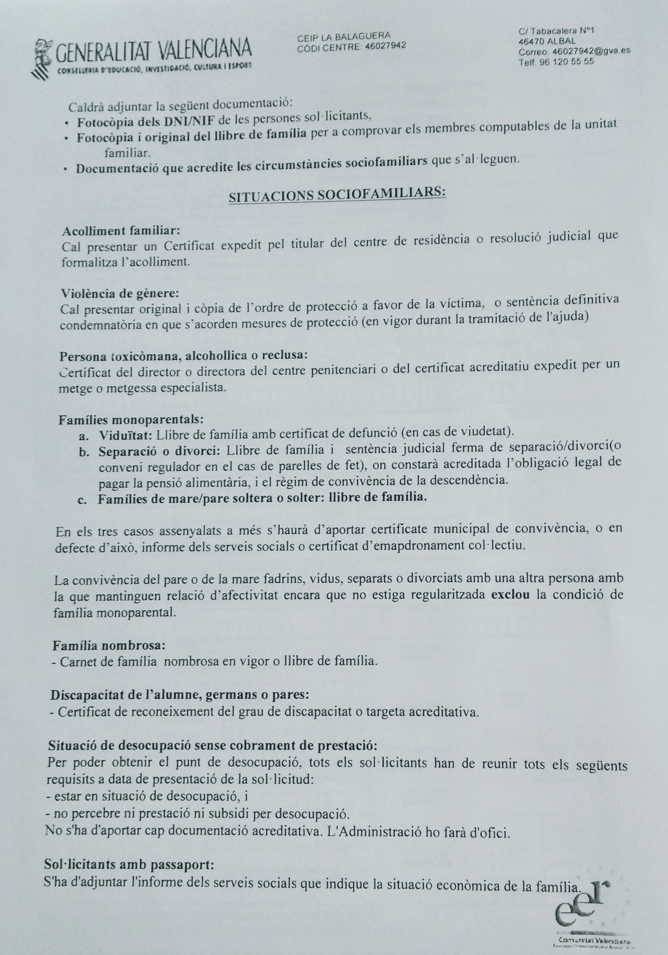 """INFORMACI"""" BEQUES ASSISTENCIALS DE MENJADOR"""