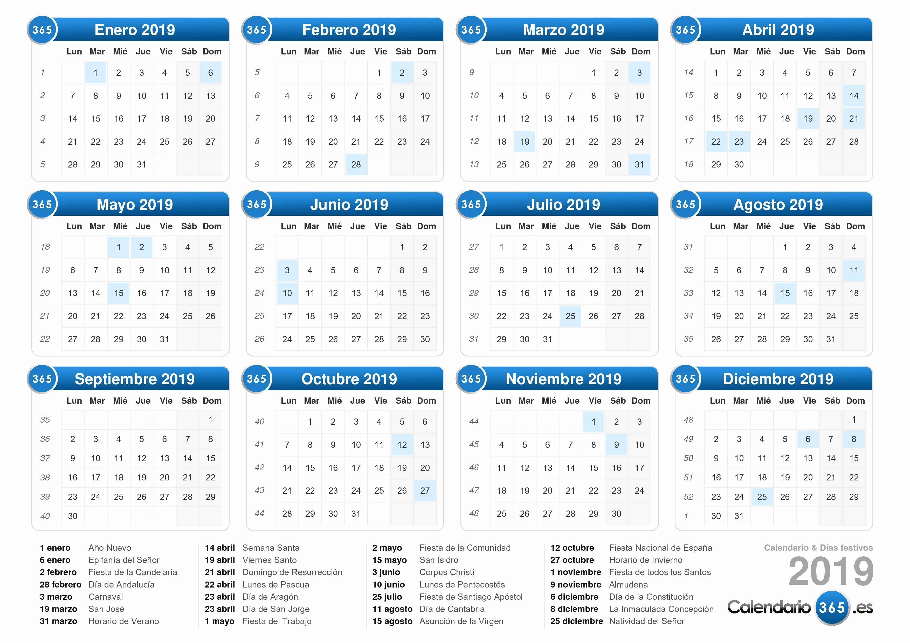 Ffm Calendarios 2019 Calendario 2019