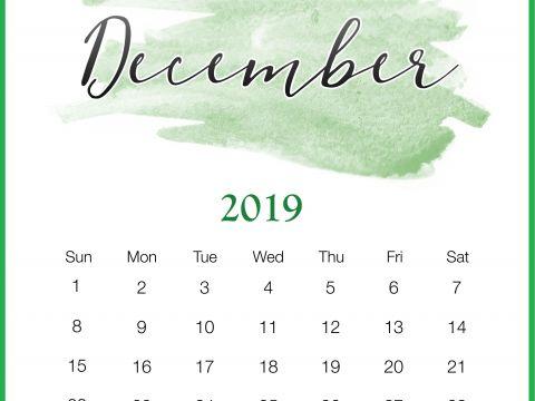 Calendario Escolar 2019 Dias Festivos Actual Watercolor 2019 December Printable Calendar каРендарь
