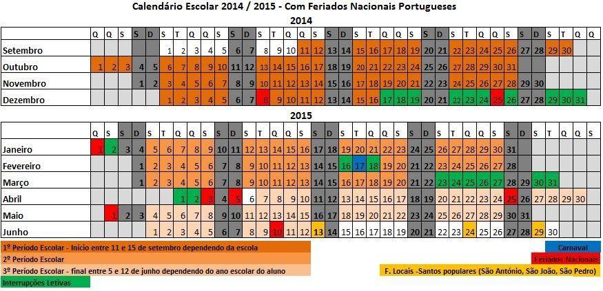 calendario escolar para o ano letivo 2014 2015