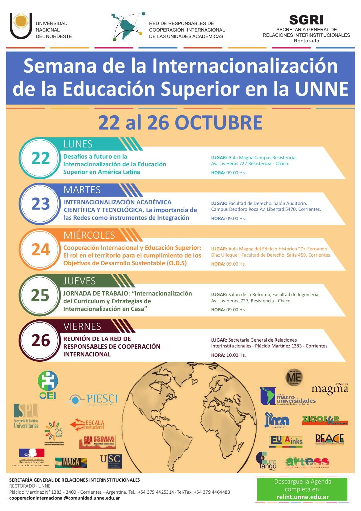 La Semana de la Internacionalizaci³n de la Educaci³n Superior en la Universidad Nacional del Nordeste tendrá lugar del 22 al 26 de octubre de 2018
