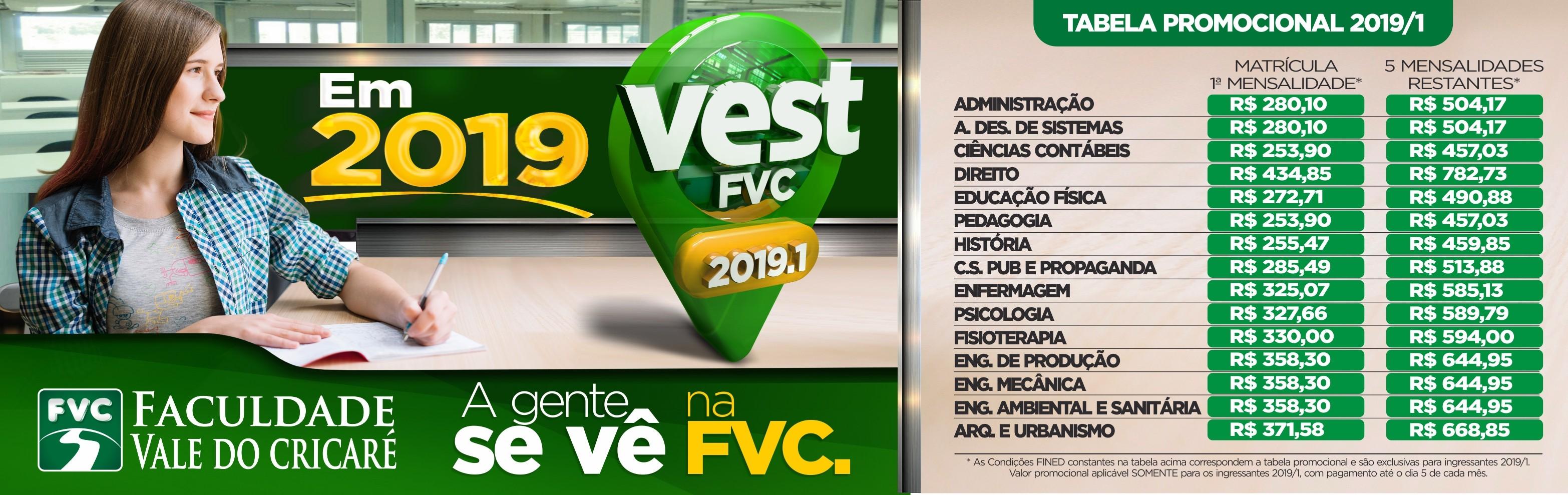 VEST 2019 PREÇOS
