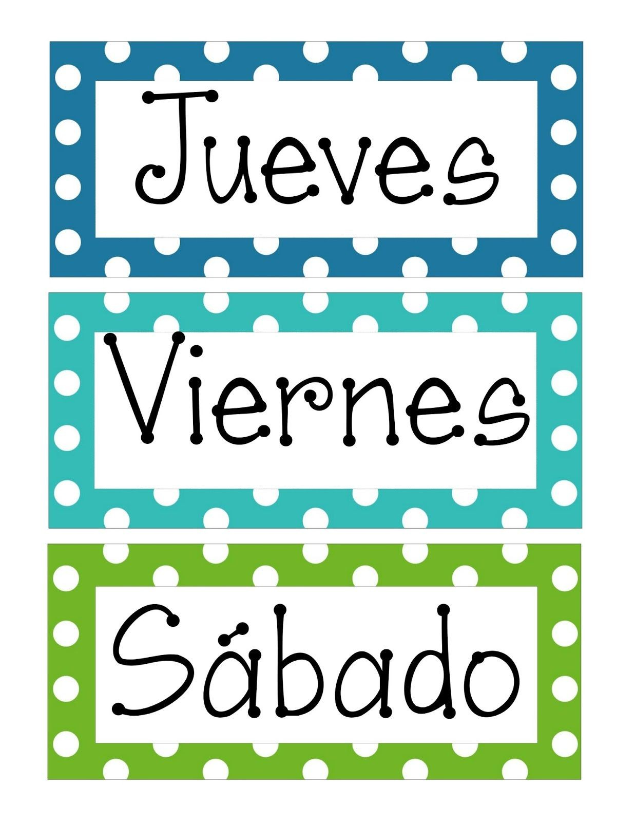 Das de la semana en espa±ol e inglés para imprimir Spanish Classroom Decor Classroom Door