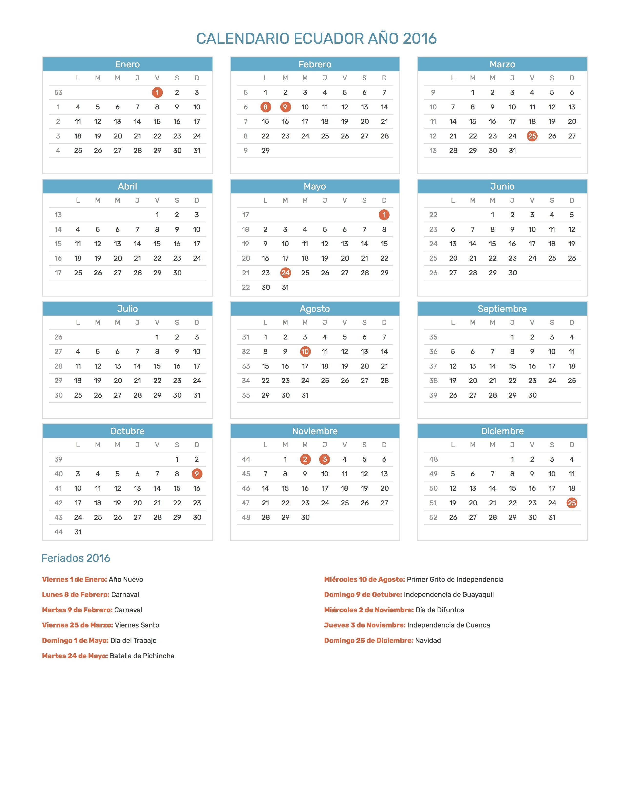Pin de Calendario Hispano en Calendario con feriados a±o 2016 Pinterest