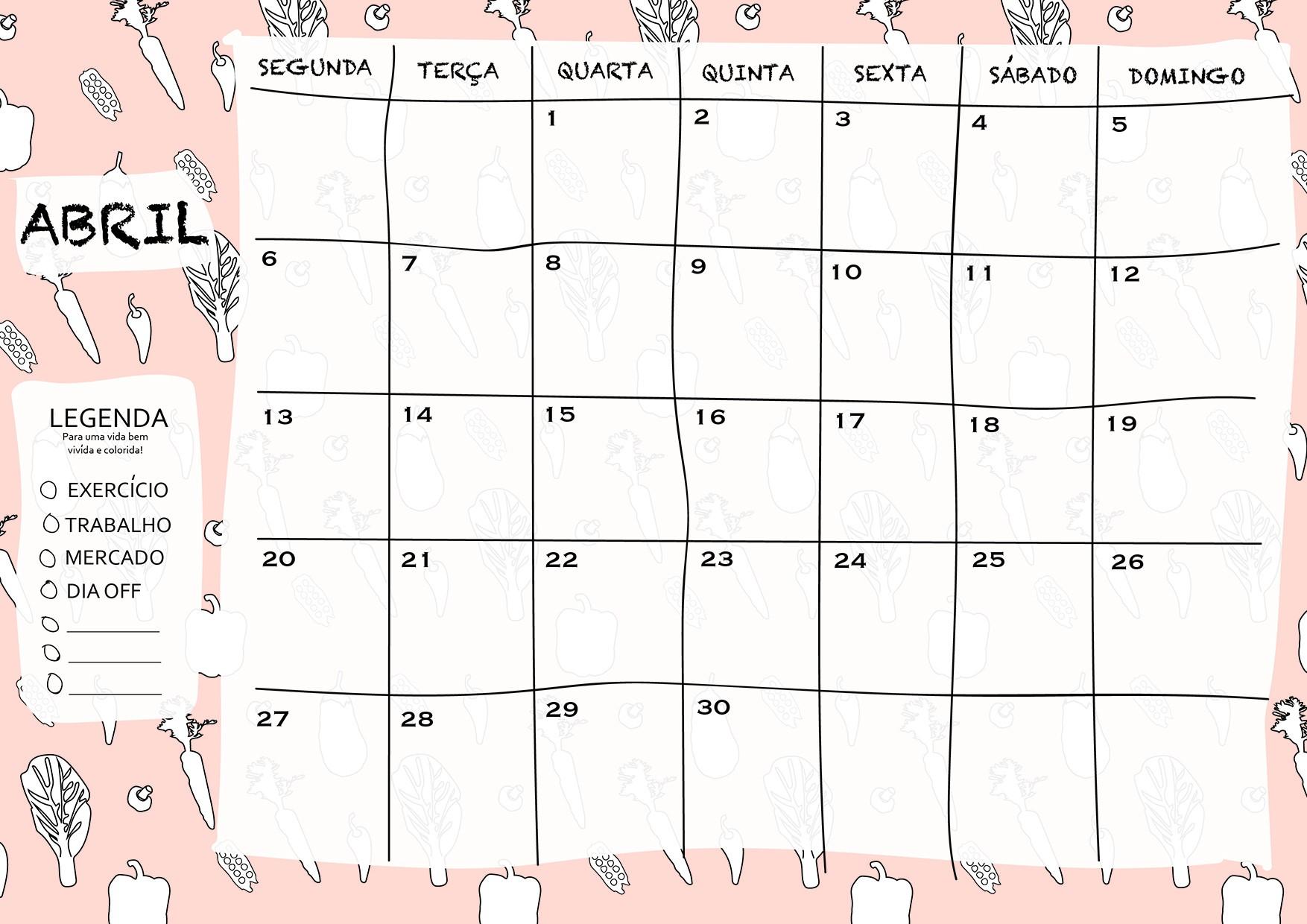 calendário mªs de abril