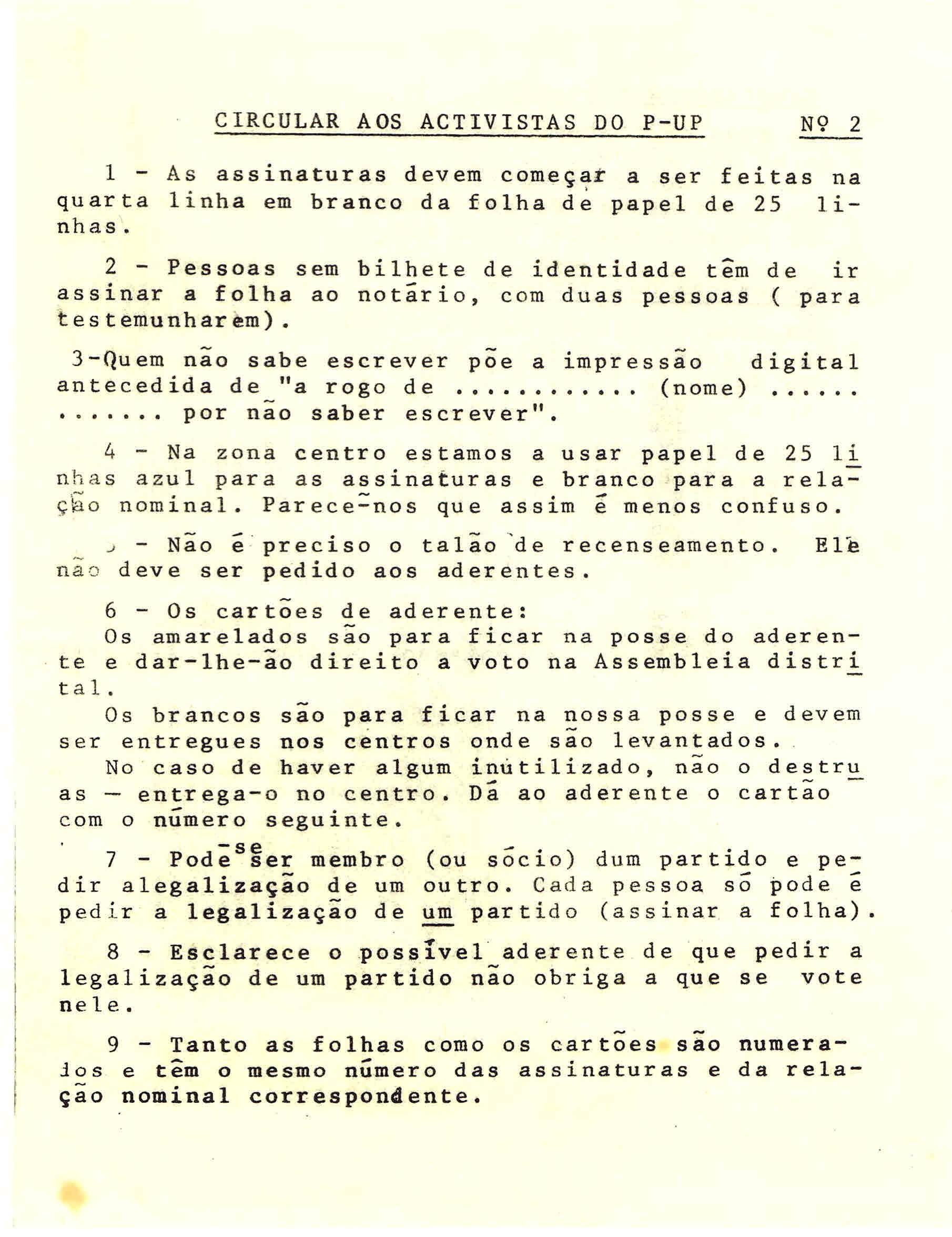 PARTIDO DE UNIDADE POPULAR – CIRCULARES CIRCULARES INTERNAS CIRCULARES PROCESSO ELEITORAL PARA A ASSEMBLEIA CONSTITUINTE 1975 – EPHEMERA – Biblioteca