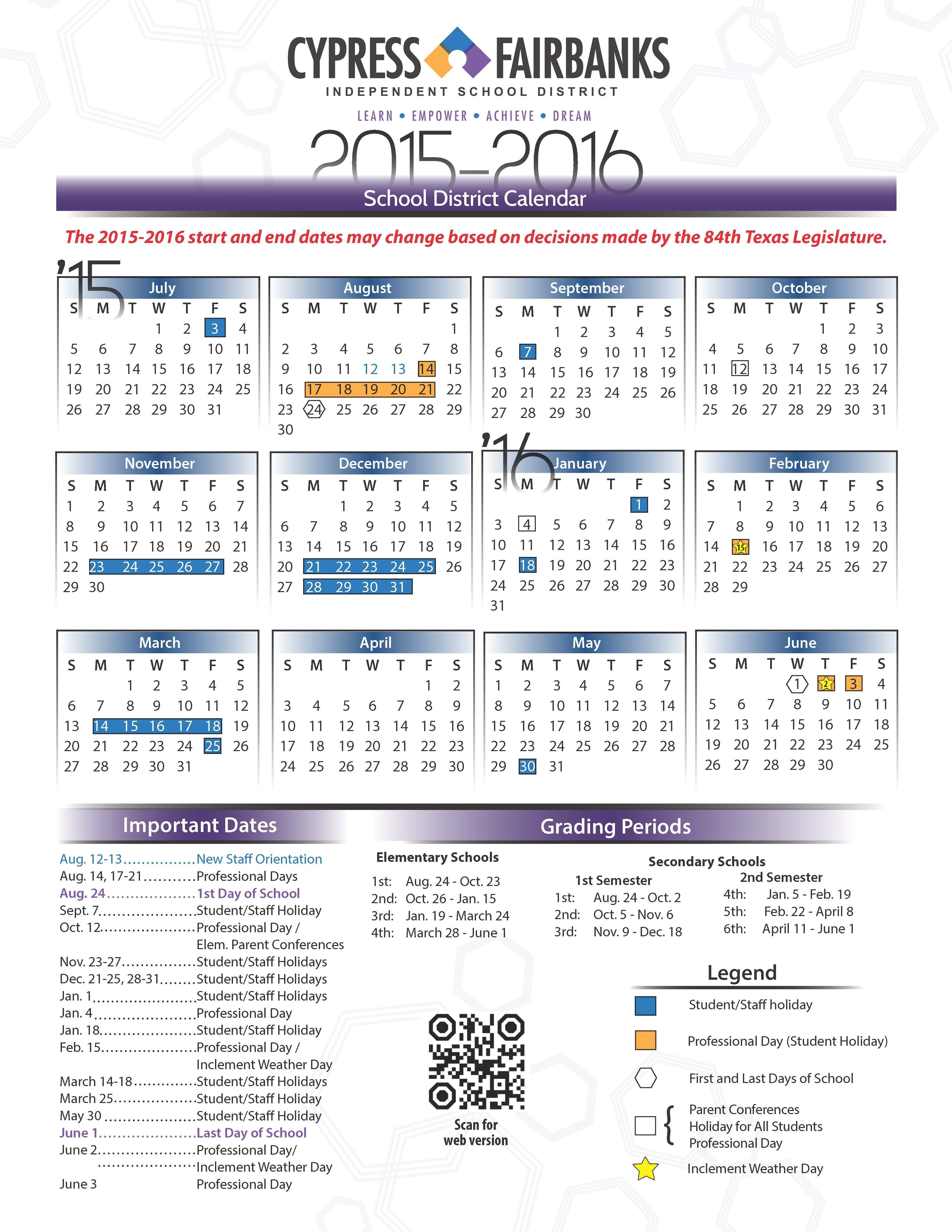 Calendario Escolar Hisd 2019 Más Reciente Cy Fair isd Calendar