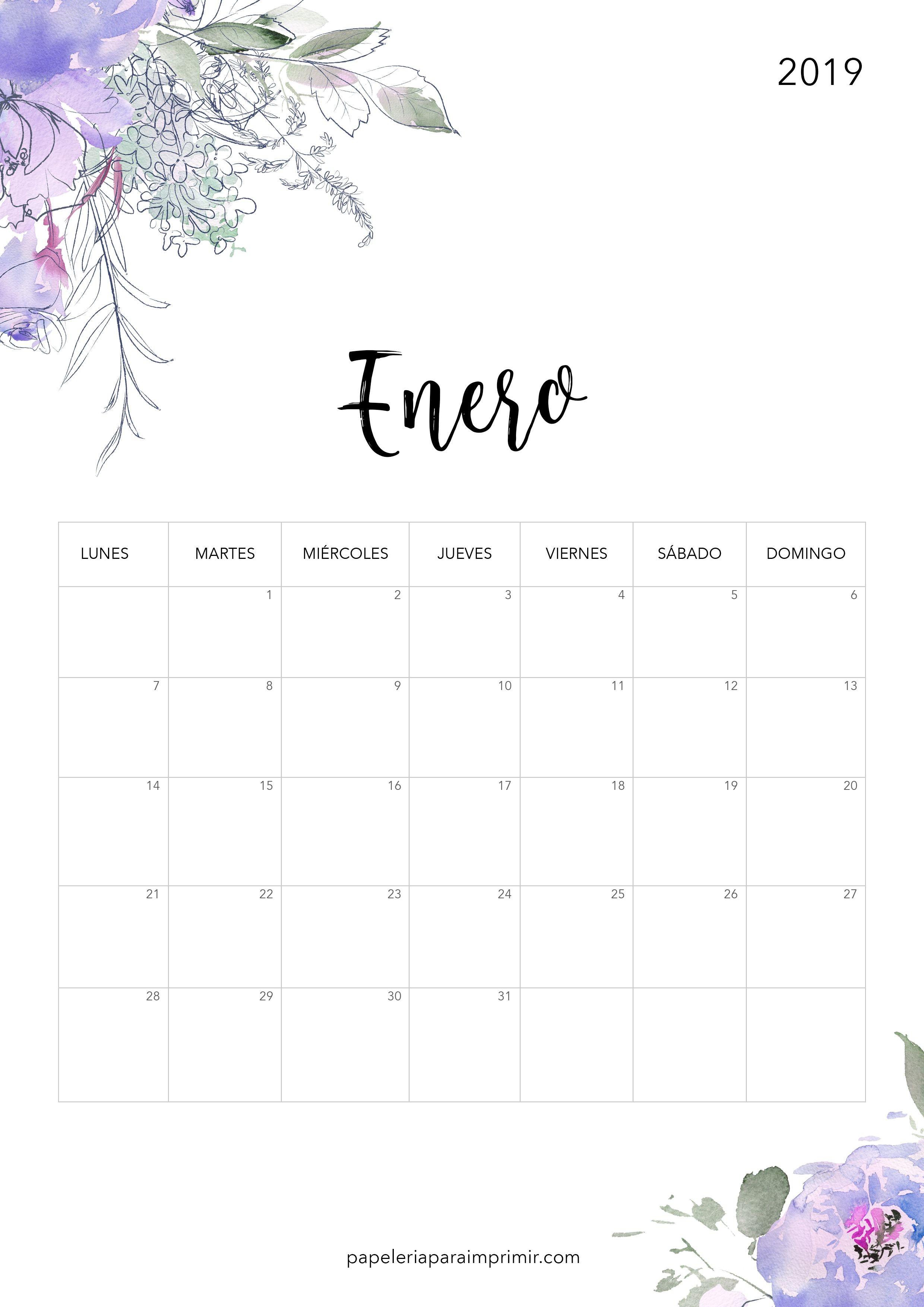 Calendario para imprimir 2019 Enero calendario imprimir enero gratis freebie printable january flowers flores alamanaque bonito
